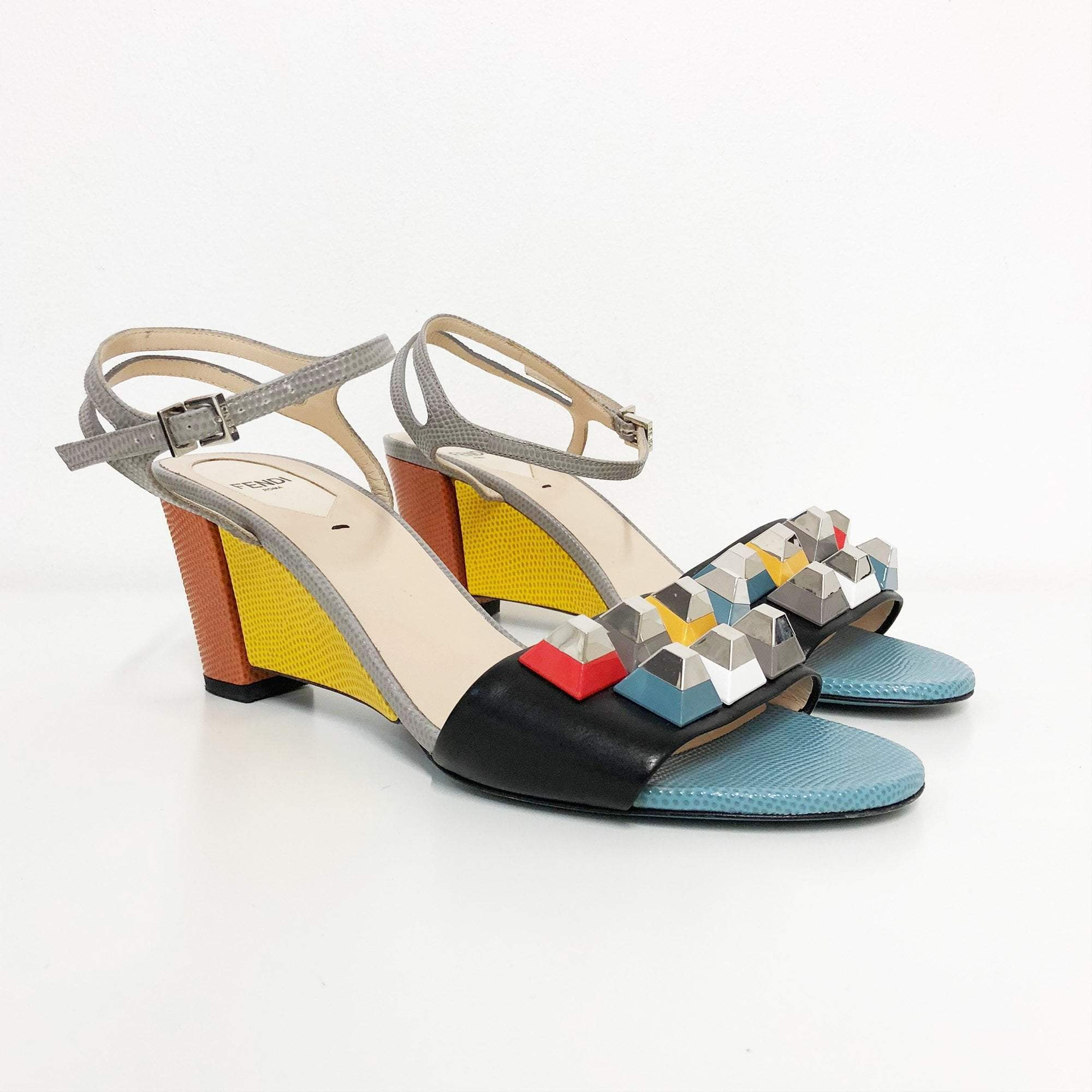 Fendi Fantazia Colorblock Studded Sandal
