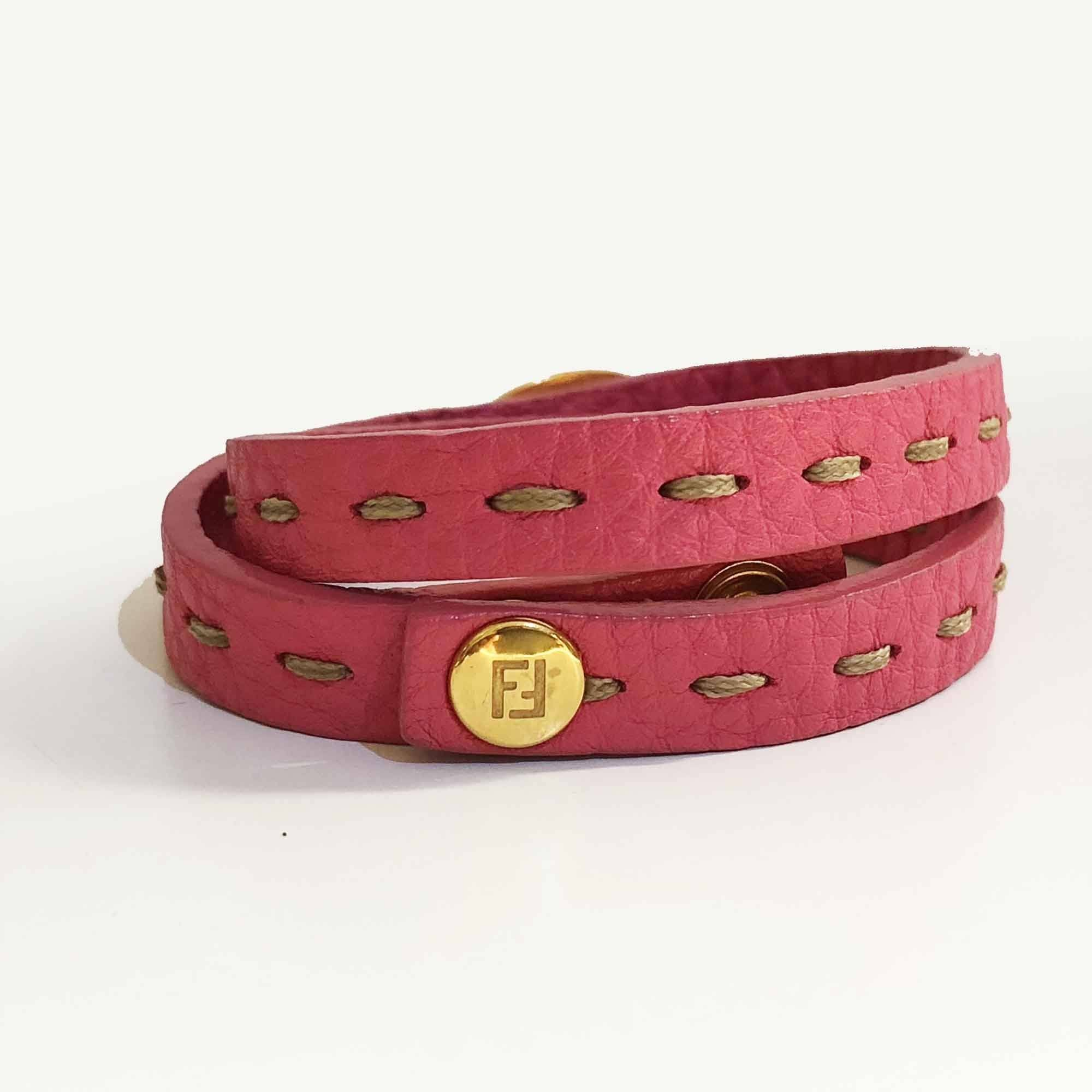 Fendi Selleria pink leather and gold Double Bracelet