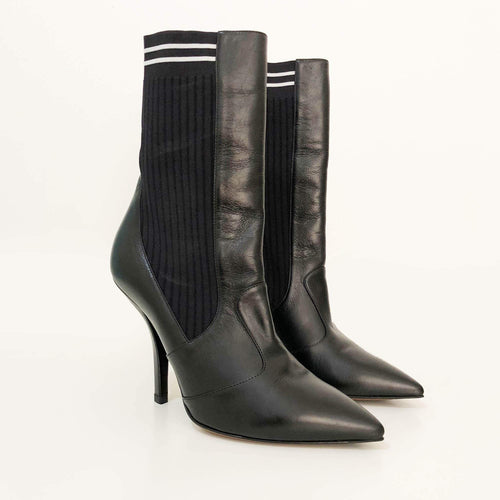 Fendi Black Sock Heeled Ankle Boots