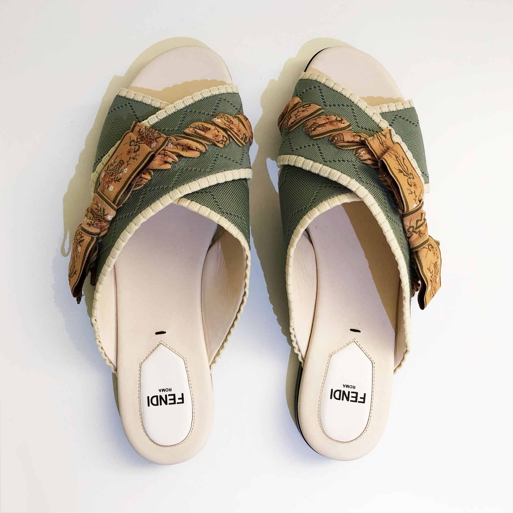 Fendi Knit Green Criss Cross Slides