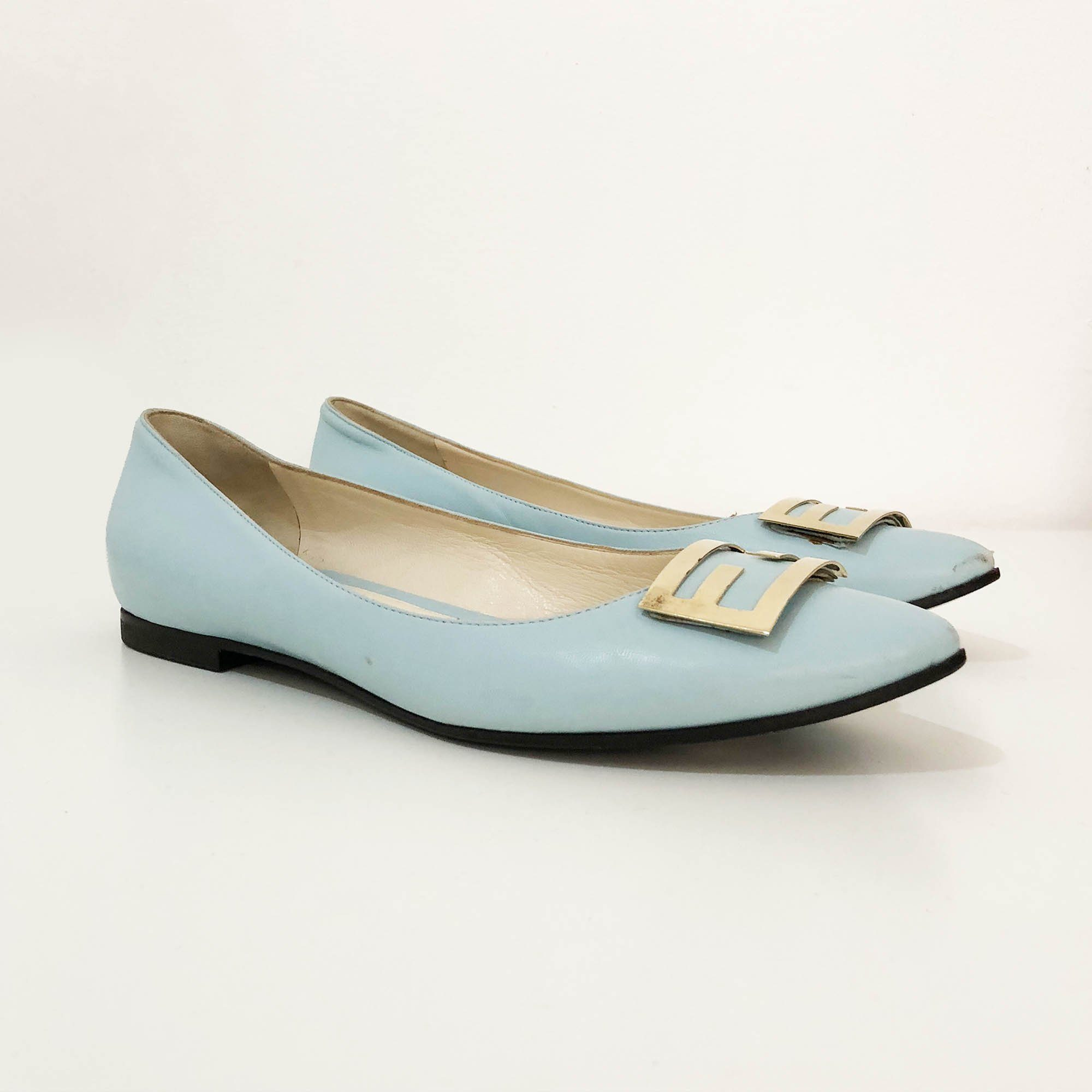 Fendi Light Blue Pointed Toe Flats