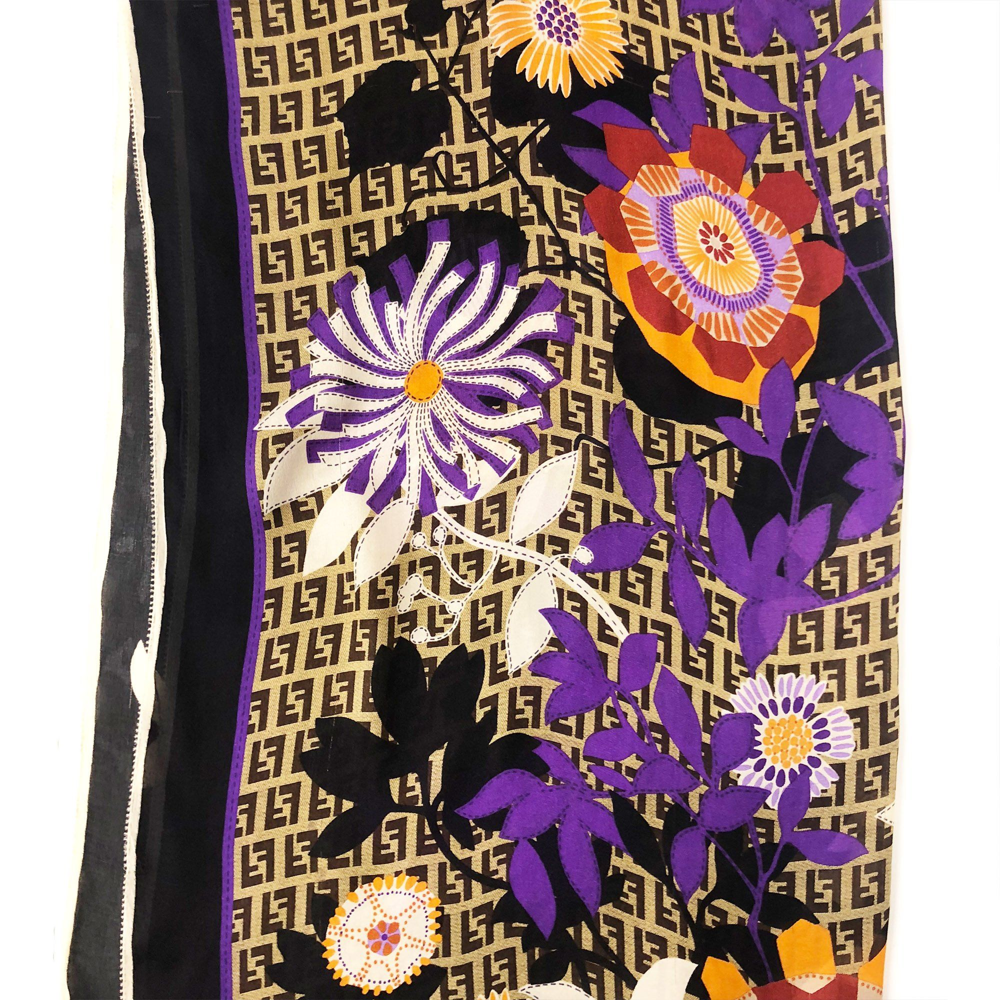 Fendi Logo And Flower Print Scarf