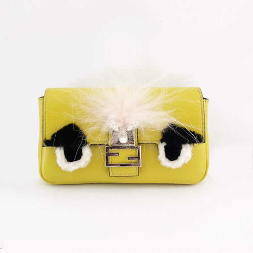 Fendi Micro Baguette Yellow Fur-Trimmed Shoulder Bag