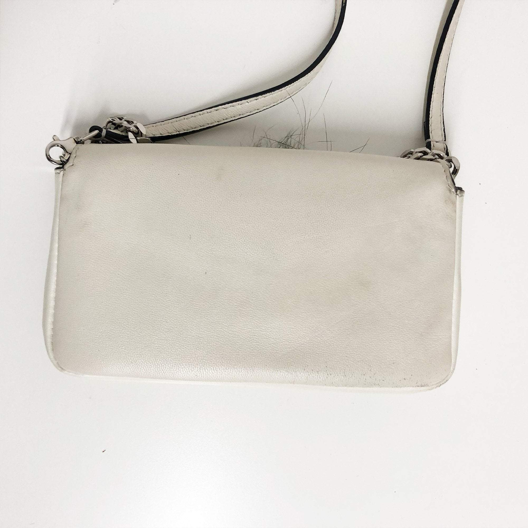 Fendi Micro Baguette White Fur-Trimmed Shoulder Bag