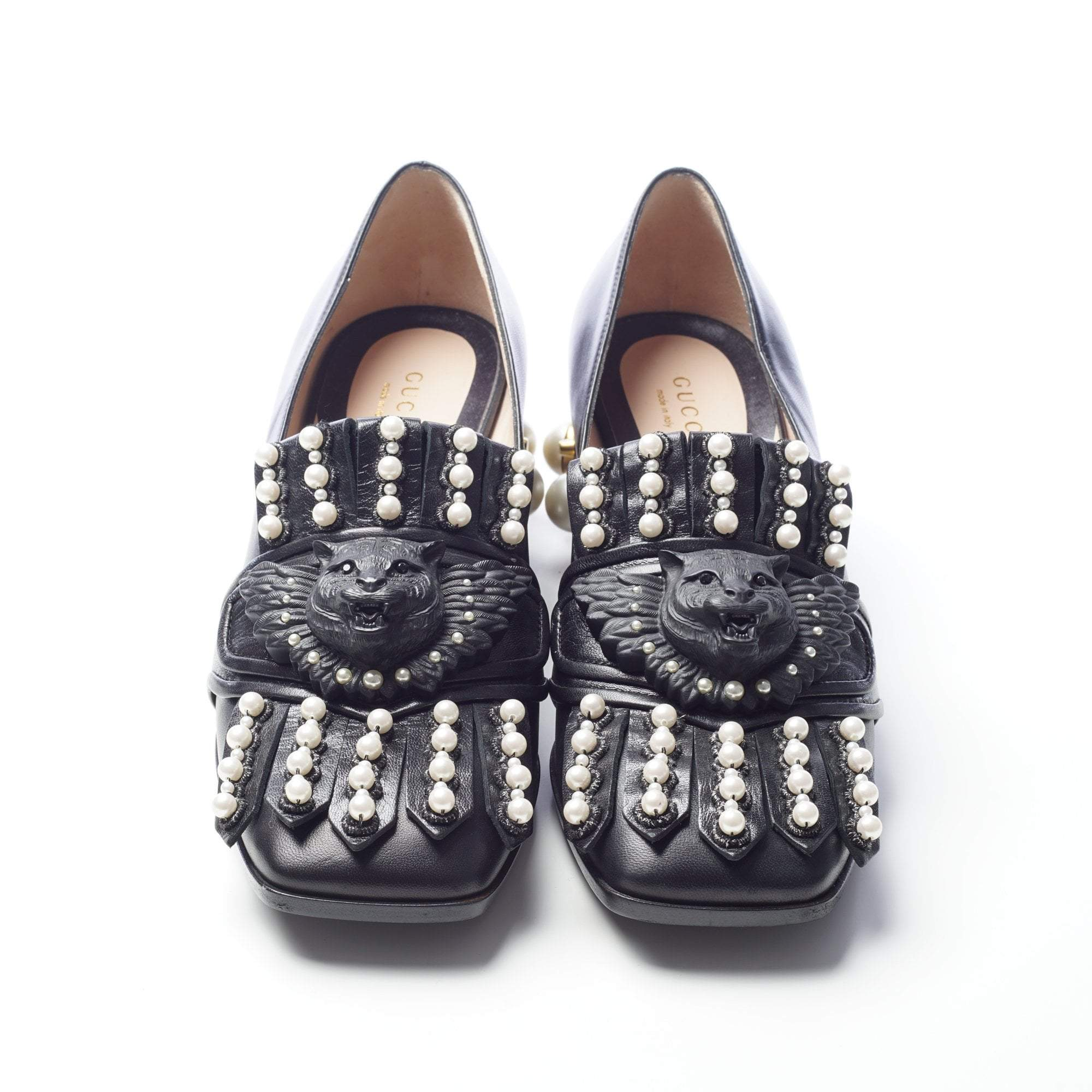 Gucci Calf-Leather Block Heel Loafer Shoes with Imitation Pearls Studs