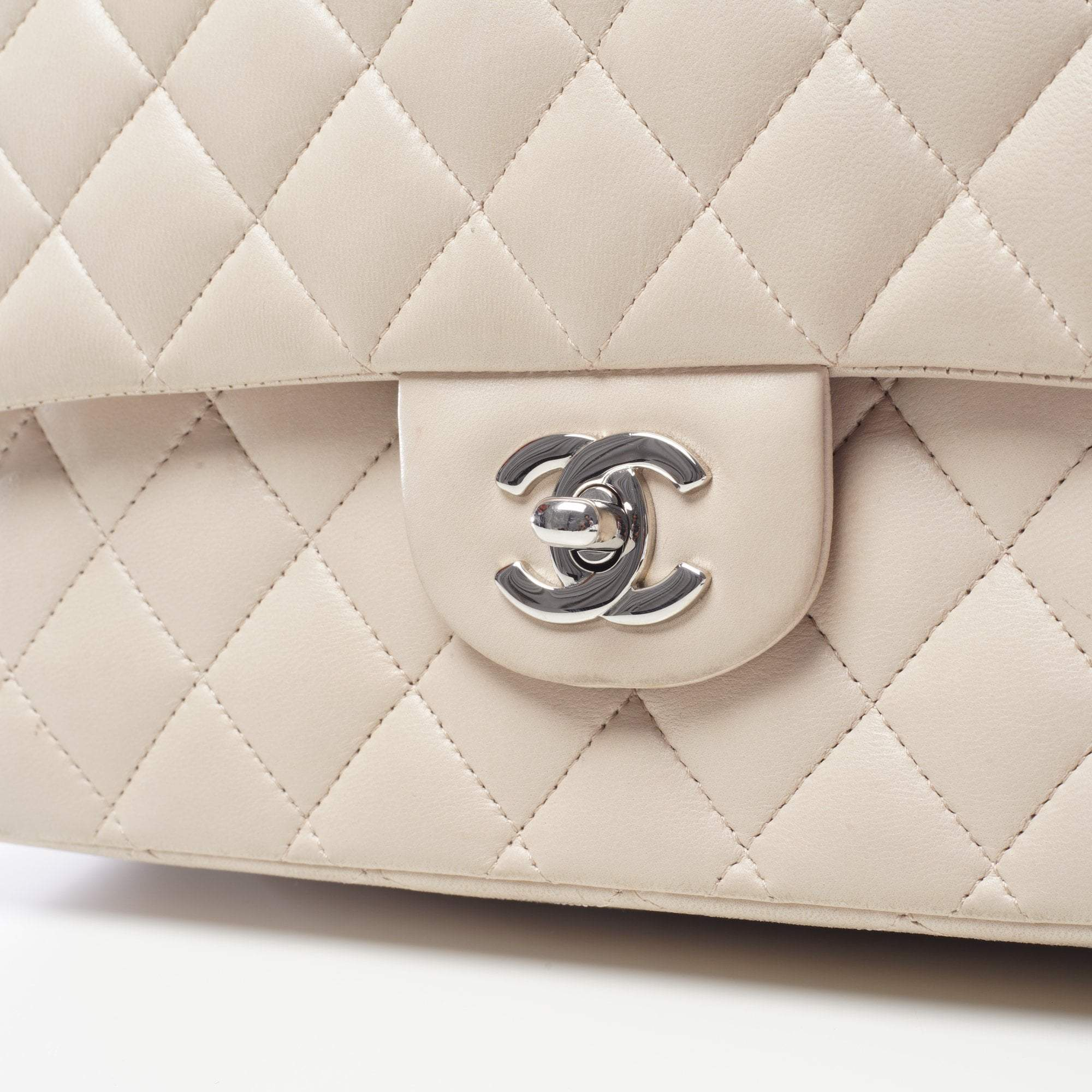 Chanel Beige Quilted Medium Double Flap Bag