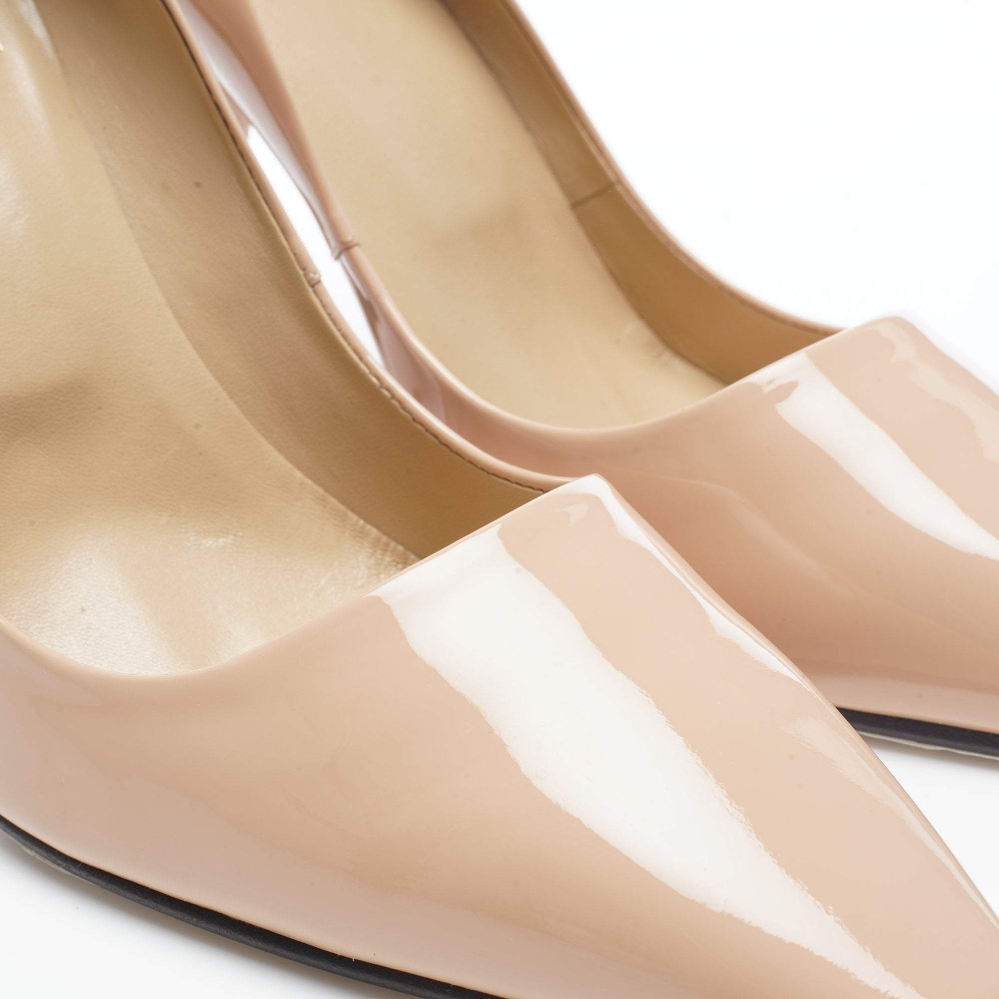 Roger Vivier Curved Heel Nude Patent Leather Pumps