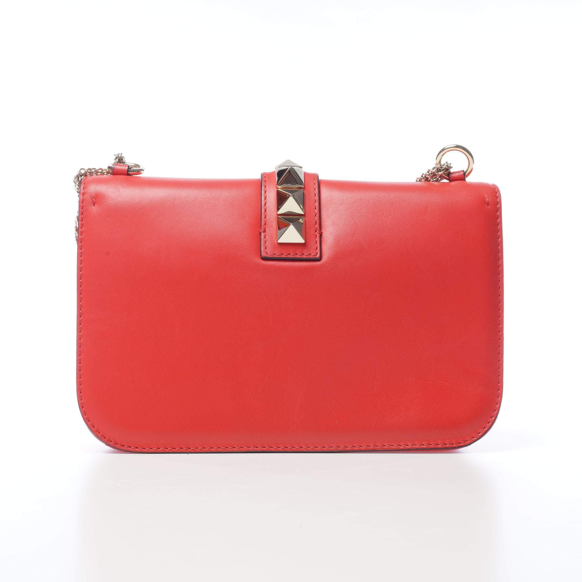 Valentino Red Lock Rockstud Trim Flap Bag