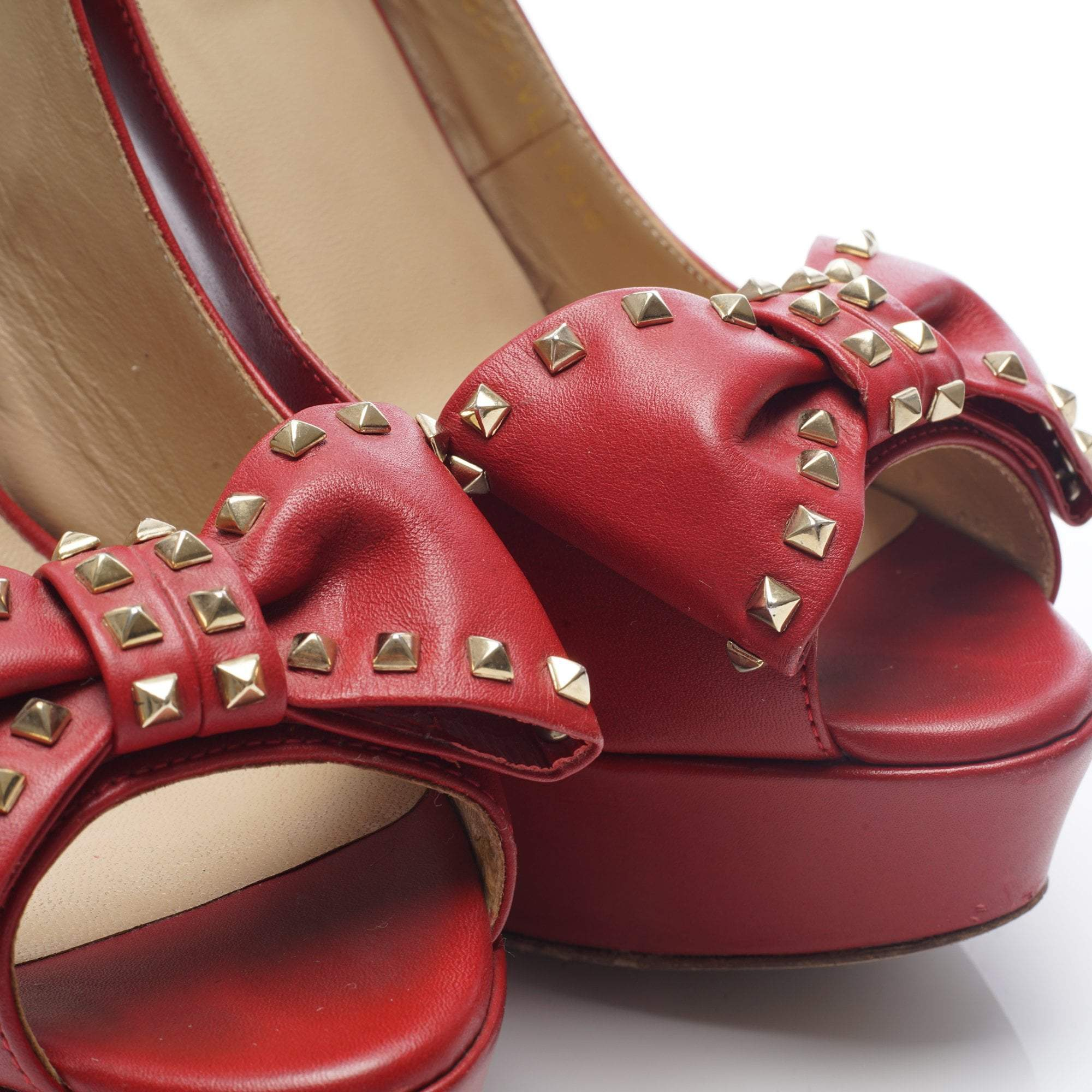 Valentino Red Platform Studded Bow Sling Back Pumps