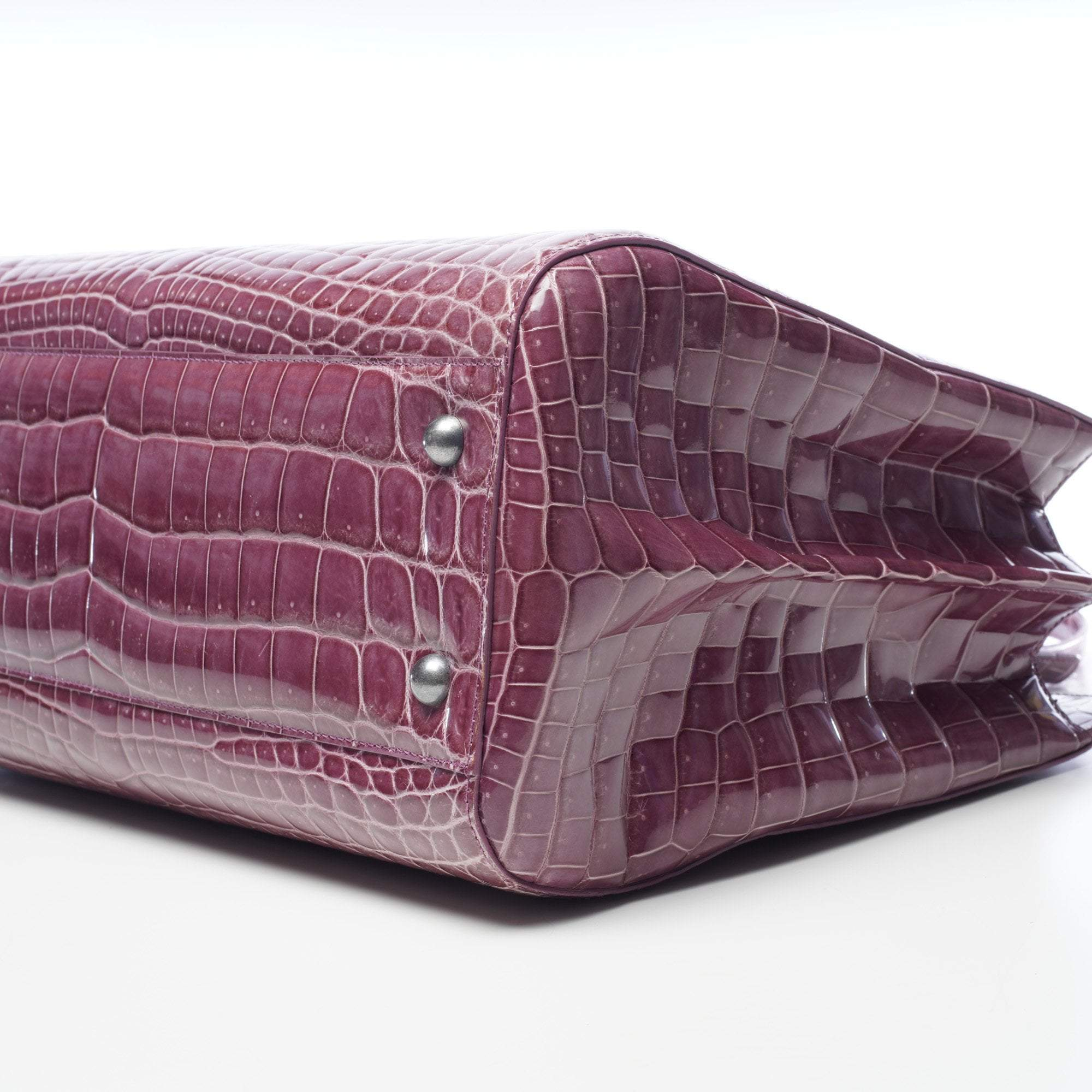 Bottega Veneta Purple Alligator Handbag