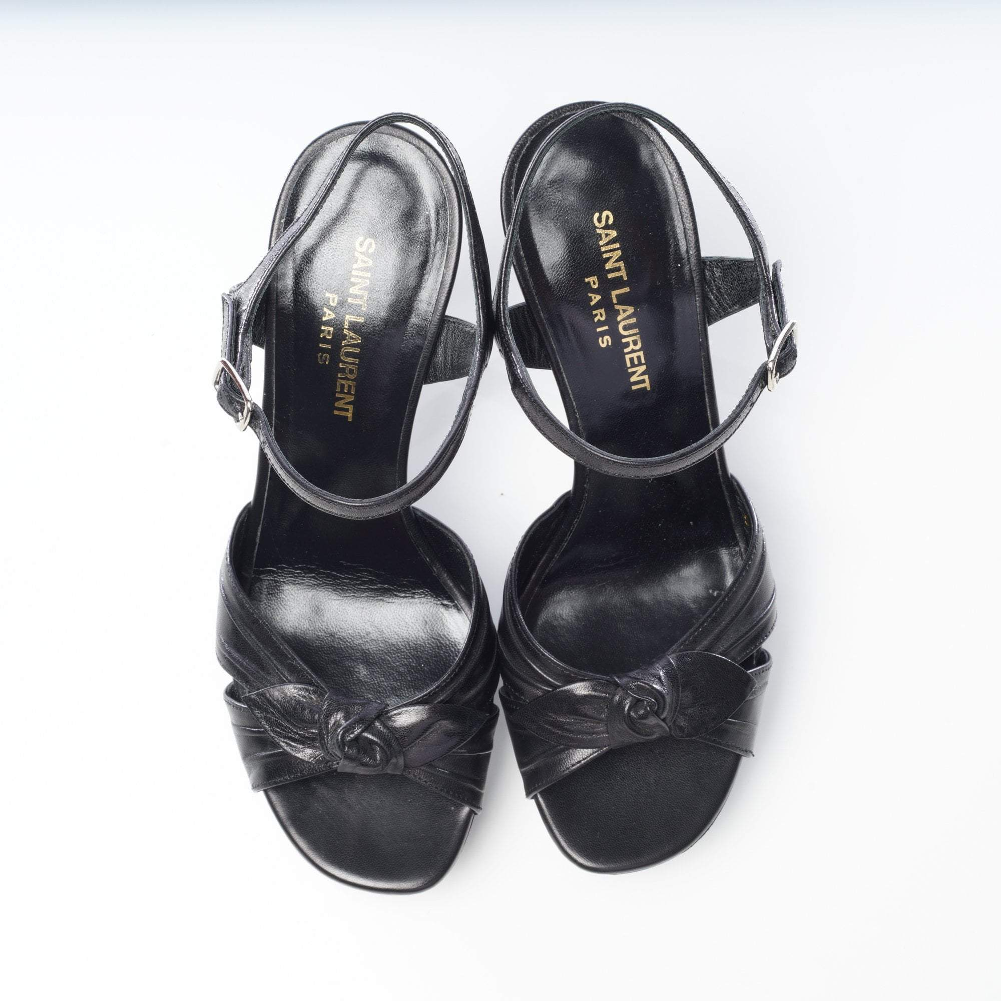 Saint Laurent Black Leather Sandal Heels