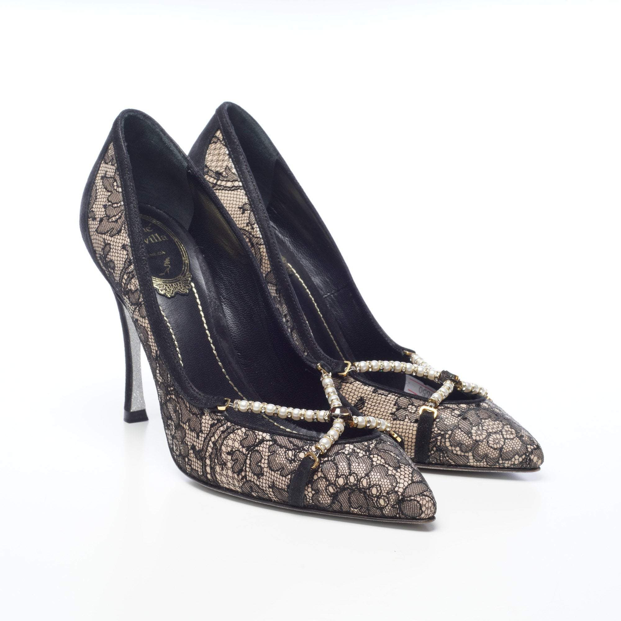 René Caovilla Black Lace Pumps with Beads