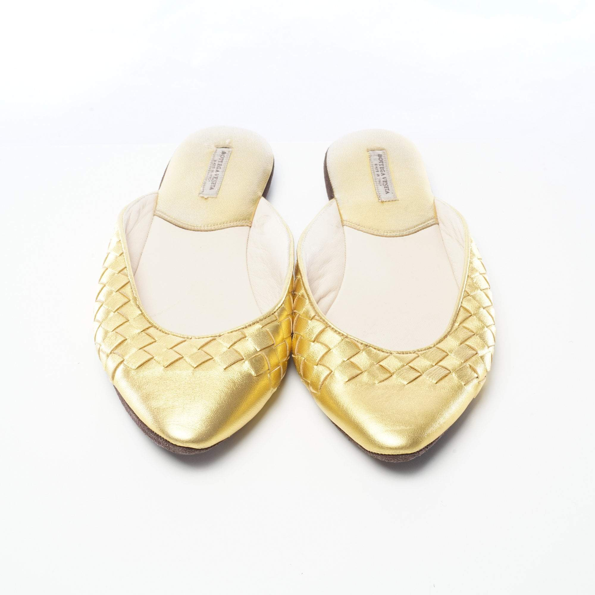 Bottega Veneta Metallic Intreciatto Slippers Light Gold