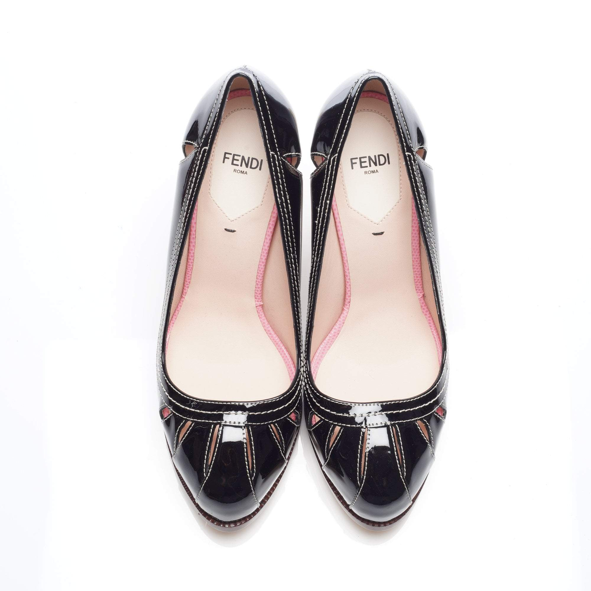 Fendi Black Patent Leather Cut Out Platform Pumps