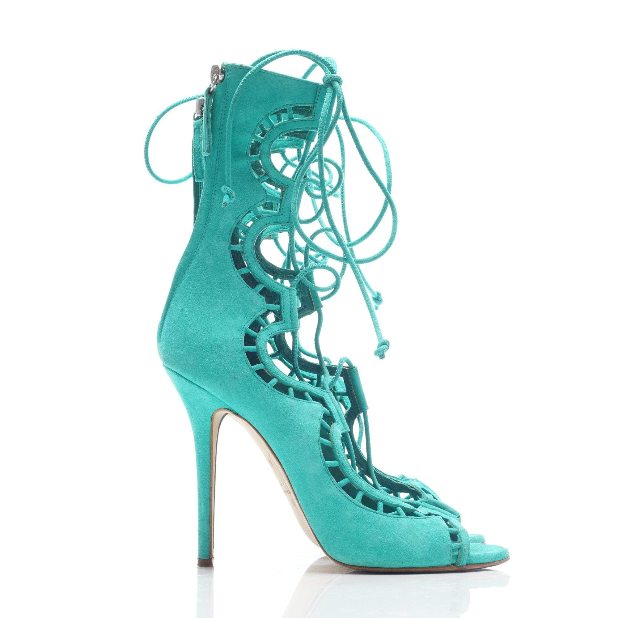 Giuseppe Zanotti Mint Green Gladiator Suede Lace Up Booties