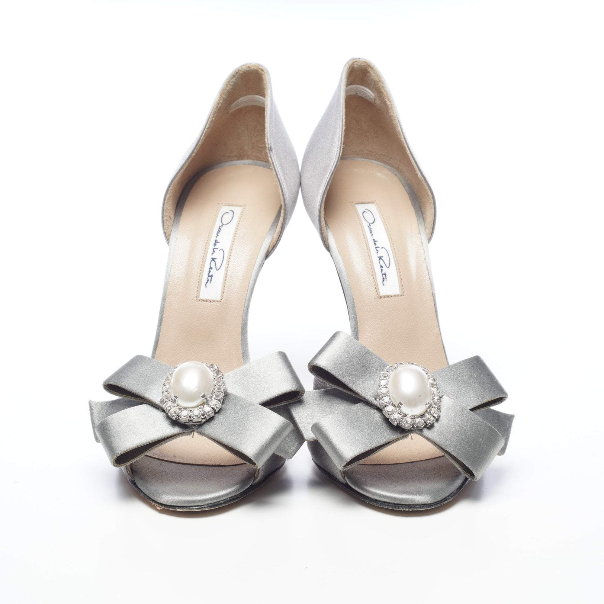 Oscar De La Renta Open Toe Grey Satin Dorsay Bow Sandals