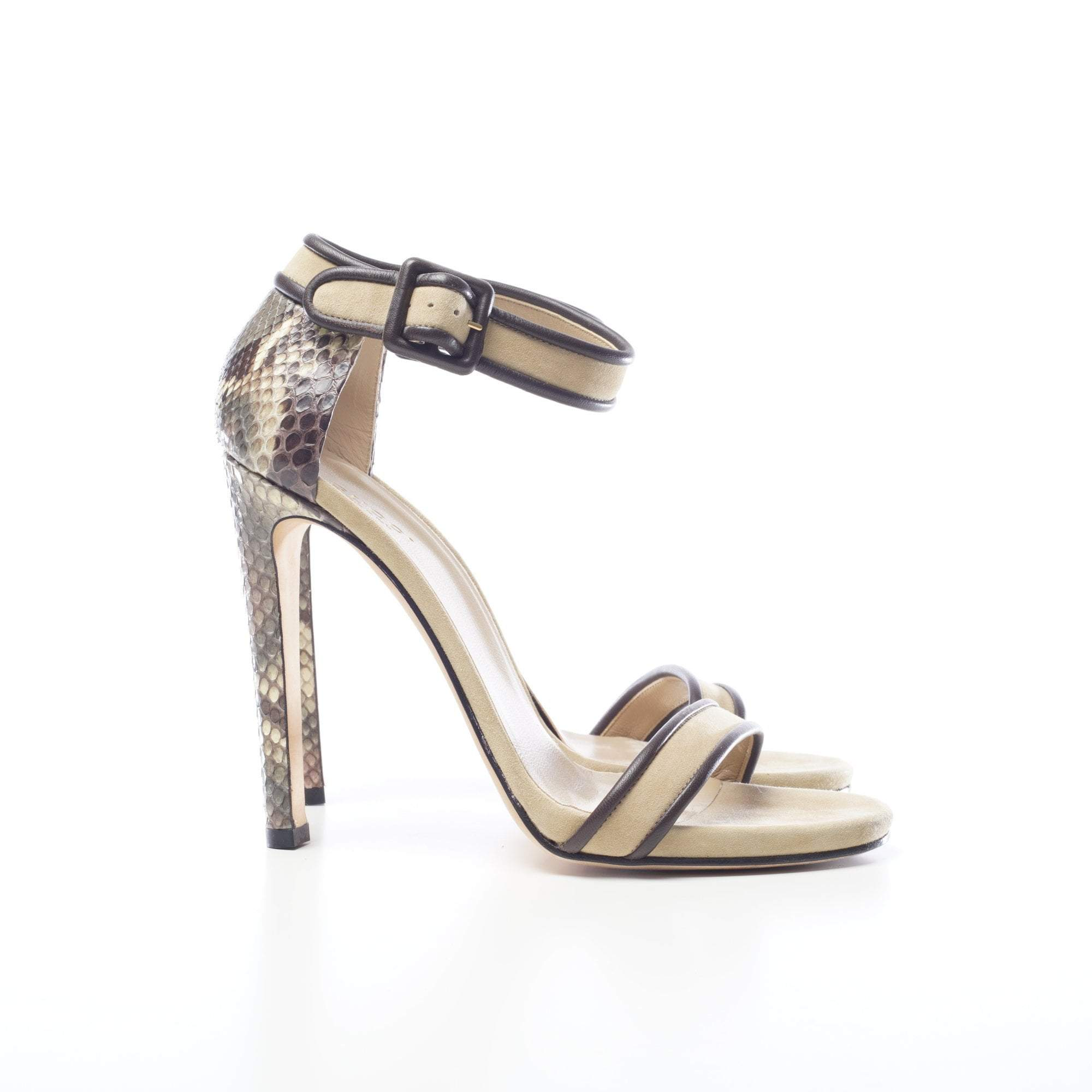 Gucci Python and Suede Sandal Heels