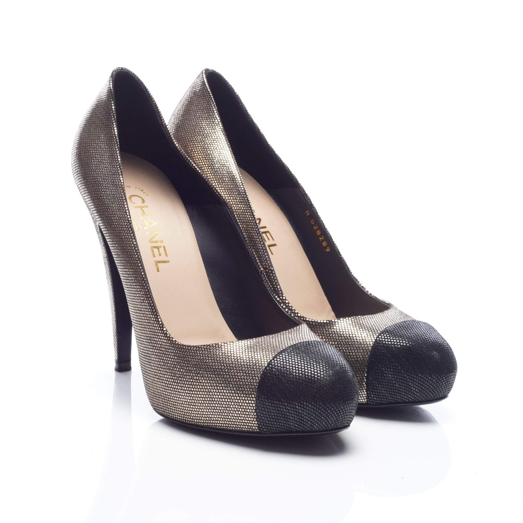 Chanel Gold and Black Cap Toe Shimmery Pumps