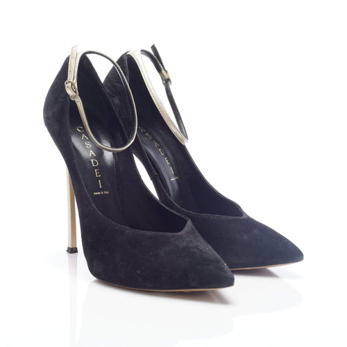 Casadei Black Suede Pointed Gold Ankle Strap Pumps