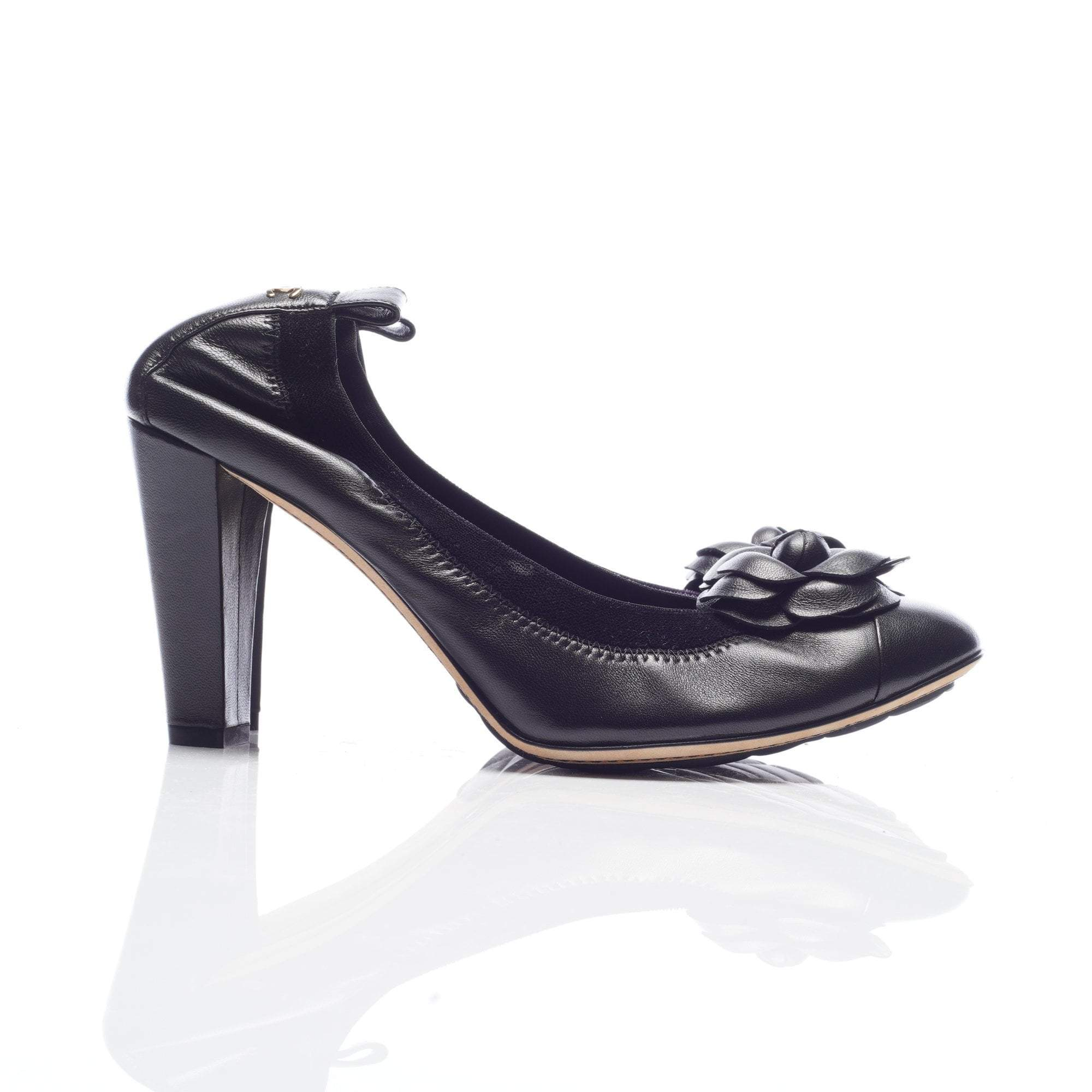 Chanel Camelia Leather Velvet Elastic Trim  Pumps