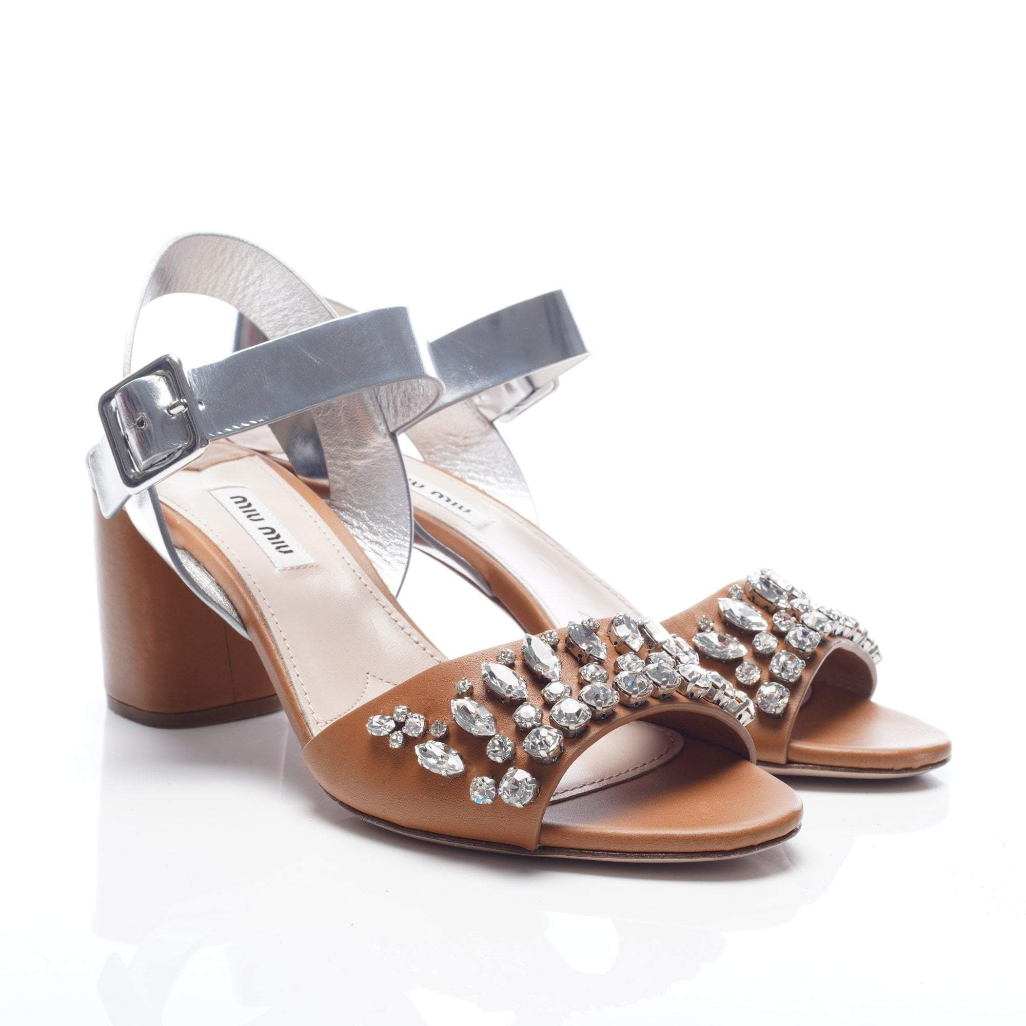 Miu Miu Brown and Silver Crystal Leather City Sandal