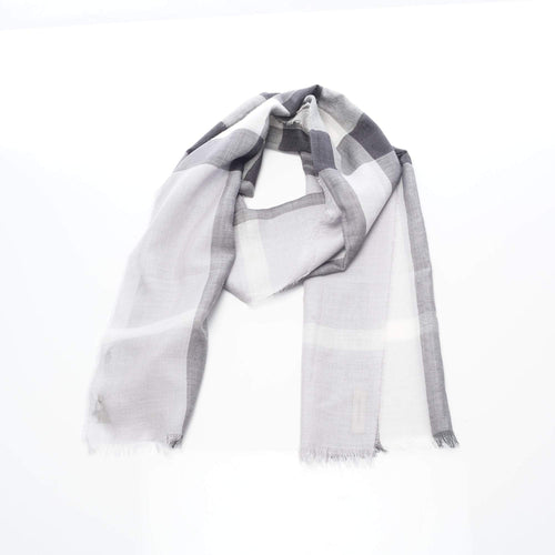 Burberry Giant Check Wool and Silk White Scarf