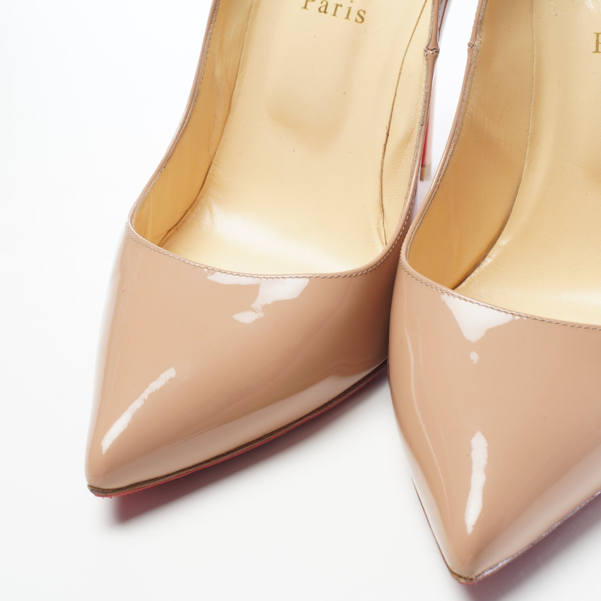 Christian Louboutin Pigalle Beige Patent Leather Pumps