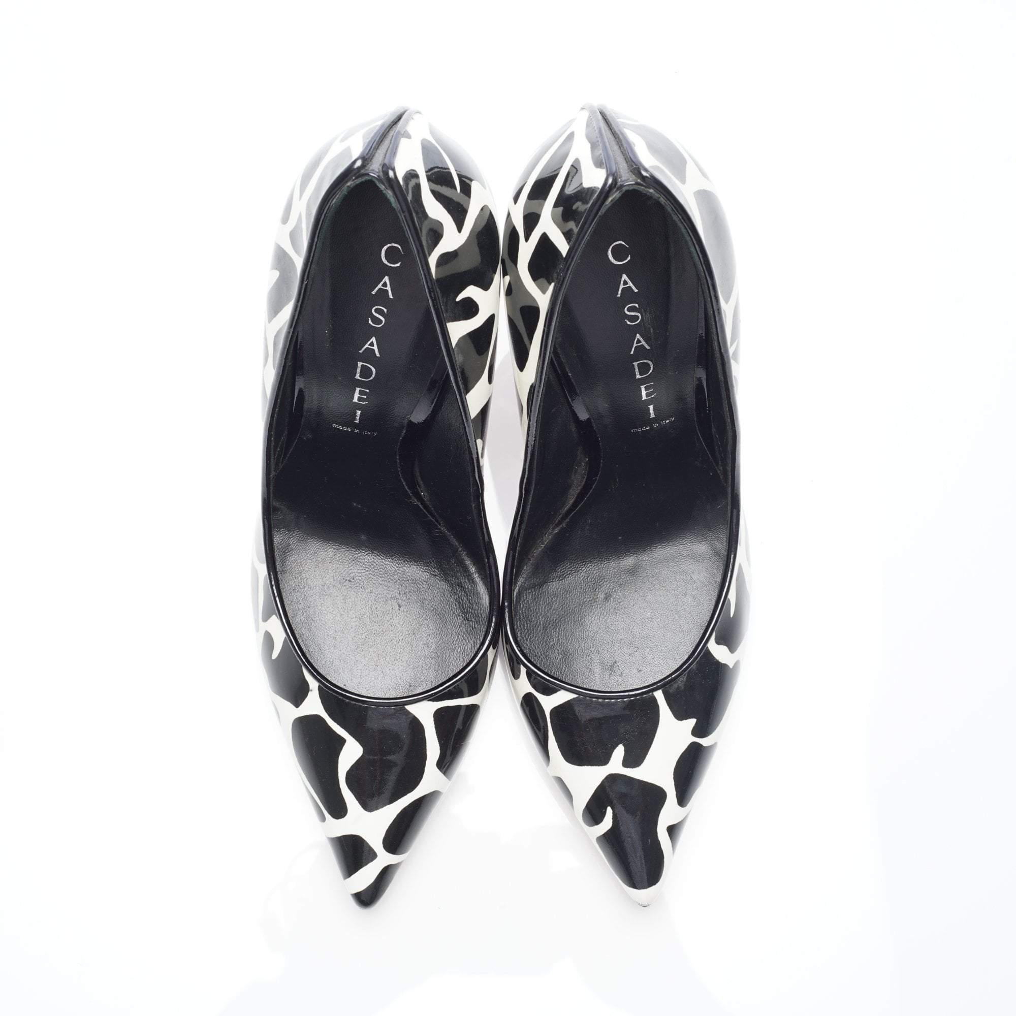 Casadei Black and White Giraffe Printed Pointed-toe Pump