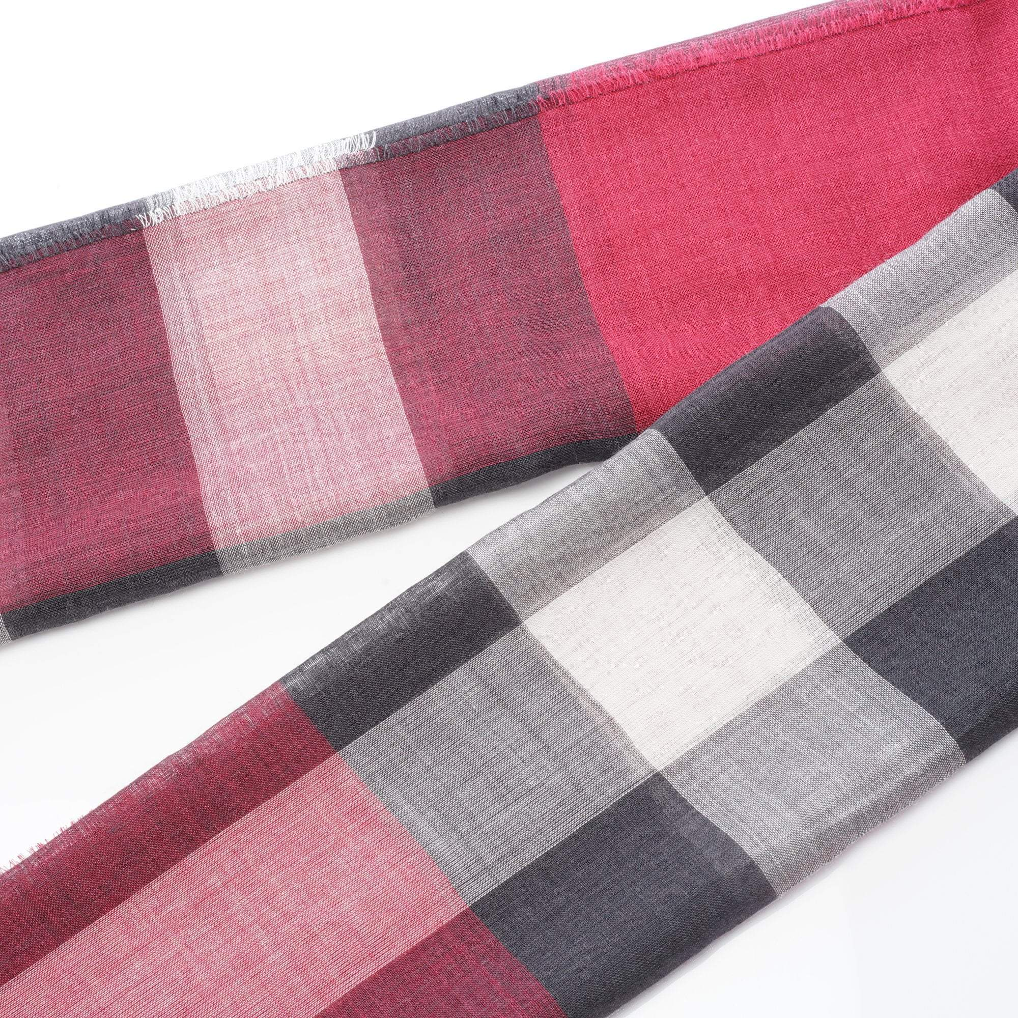 Burberry Giant Check Wool and Silk Pink Scarf
