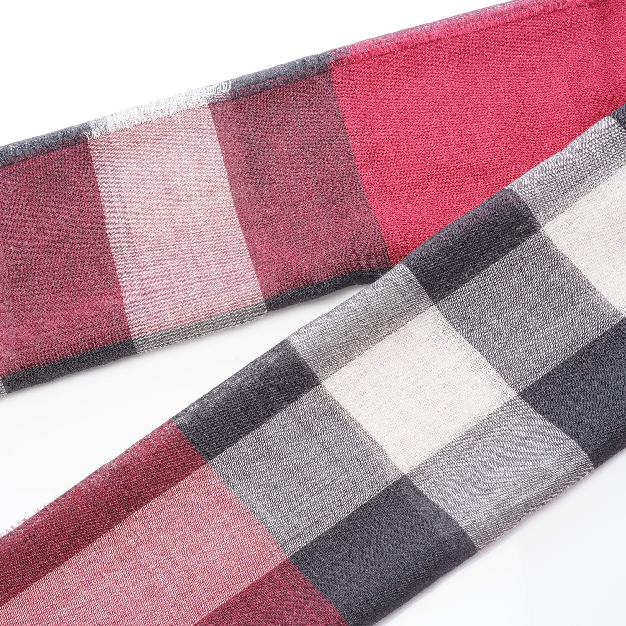 Burberry Giant Check Wool and Burgundy Scarf