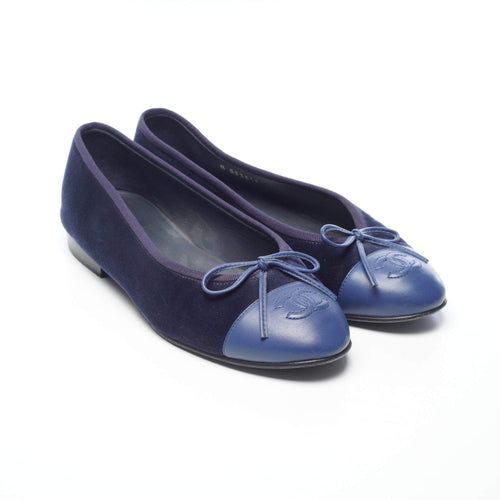 Chanel Ballerina Blue Velvet Leather Cap Ballerinas