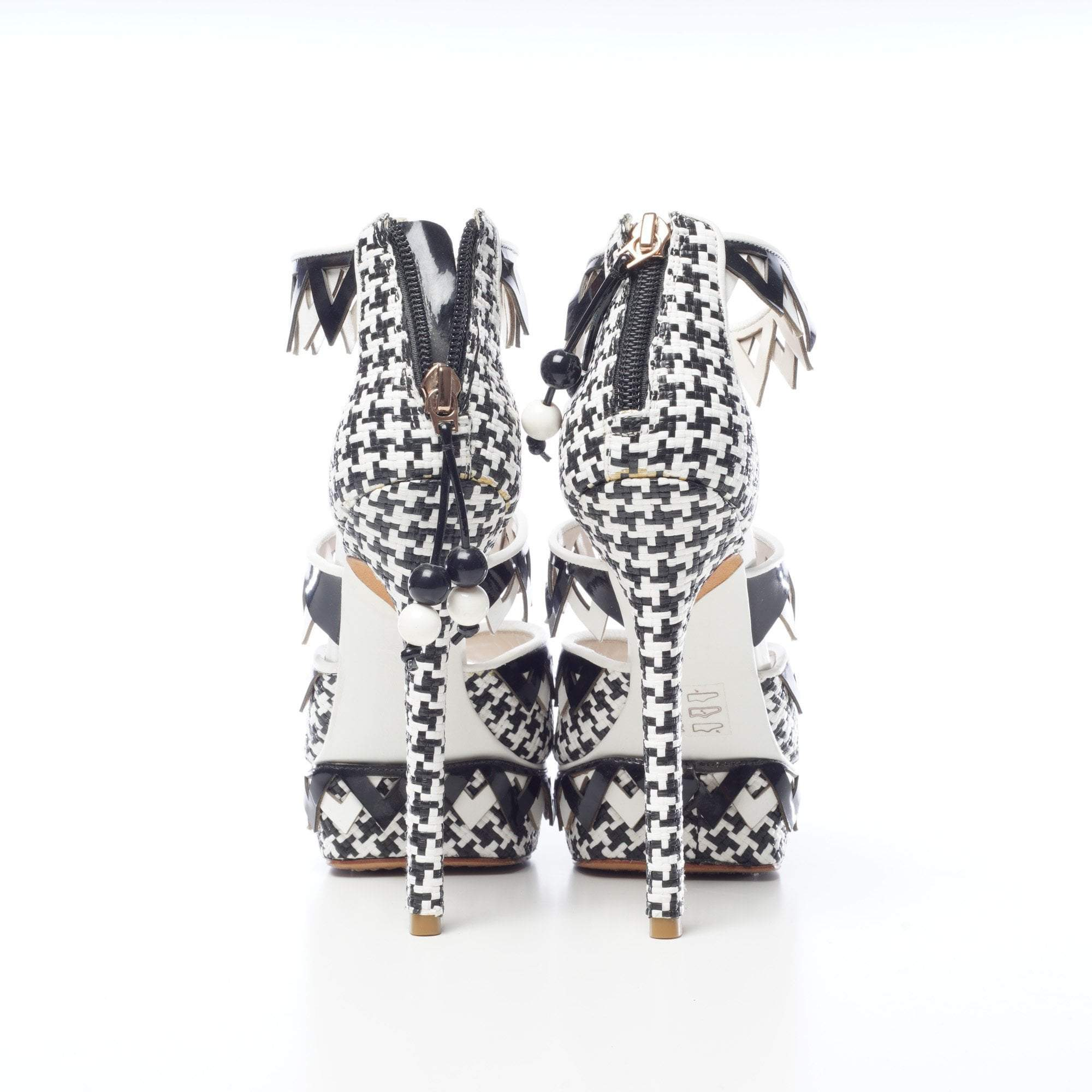 Sophia Webster Black and White Zig-Zag Sandal Heels