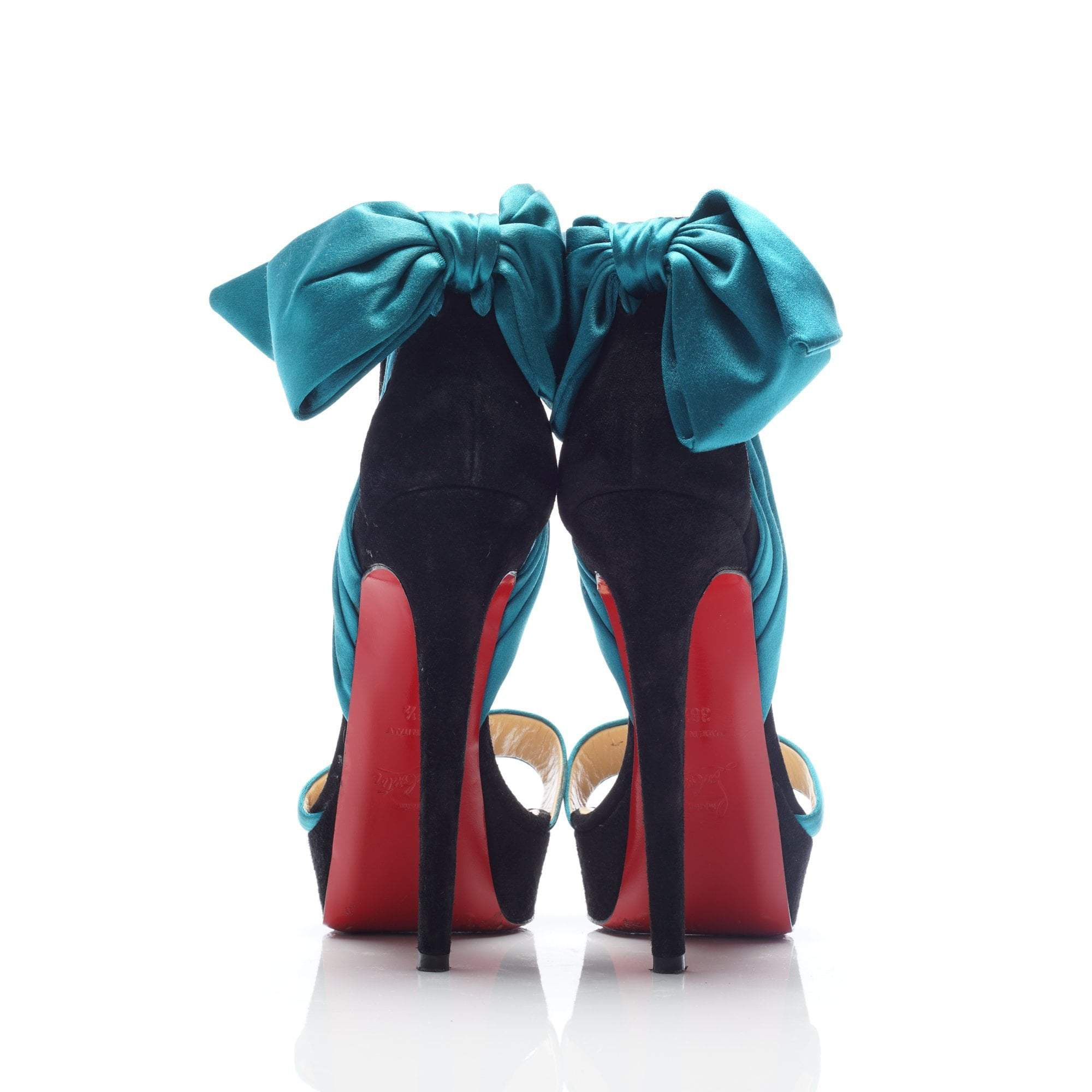 Christian Louboutin Peacock Black Vampanodo Satin Bow Pumps