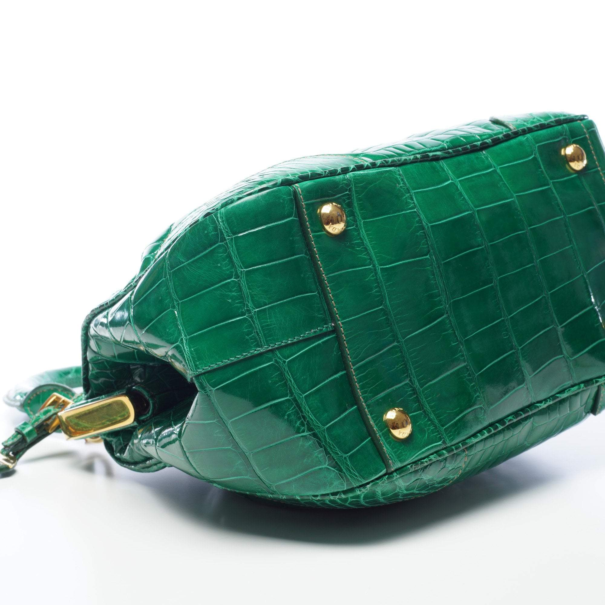 Prada Green Crocodile Top Handle Frame Bag