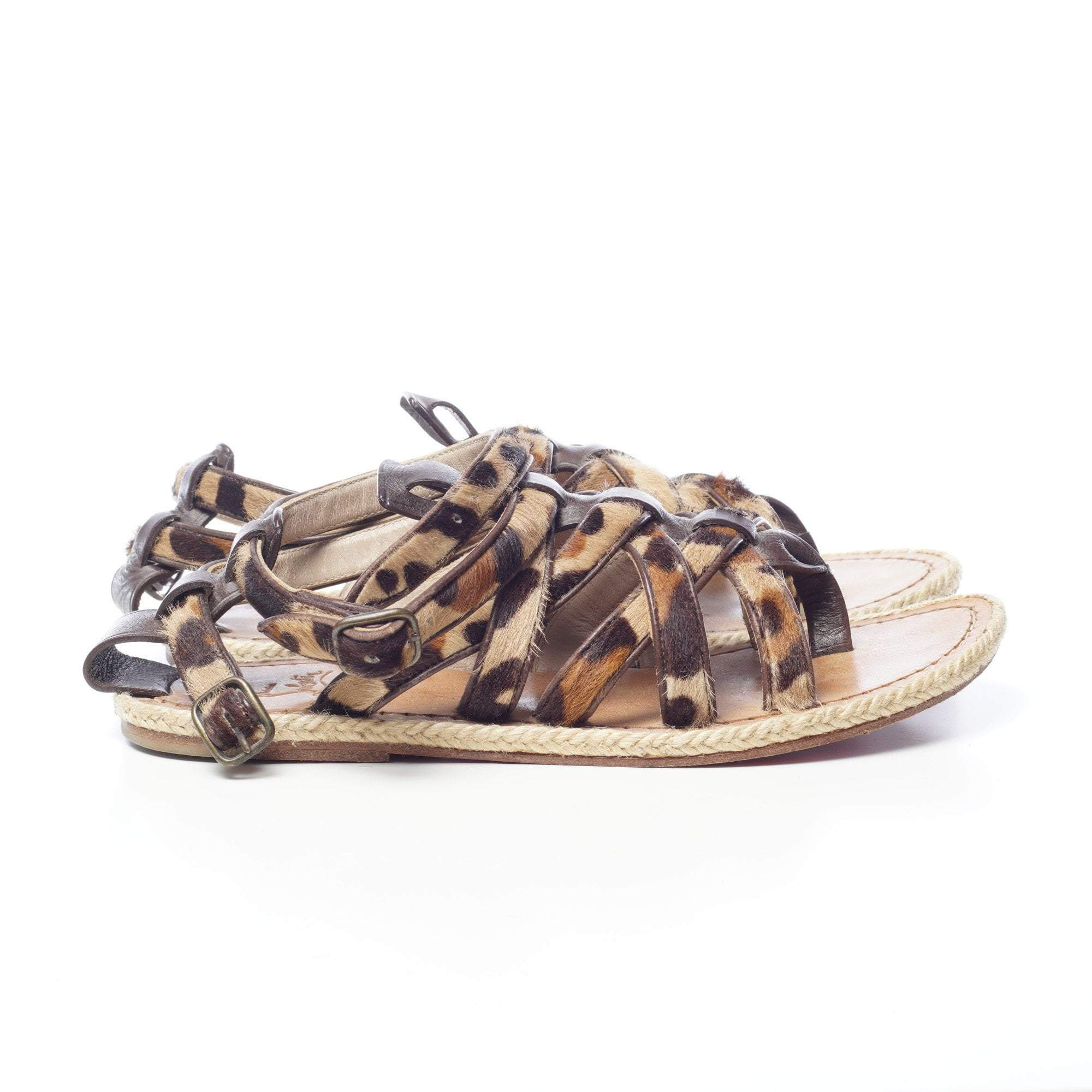 Christian Louboutin Leopard Pony Hair Nuria Flat Gladiator Sandals