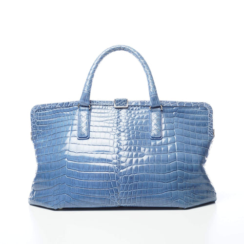 Bottega Veneta Crocodile Tote Blue Bag