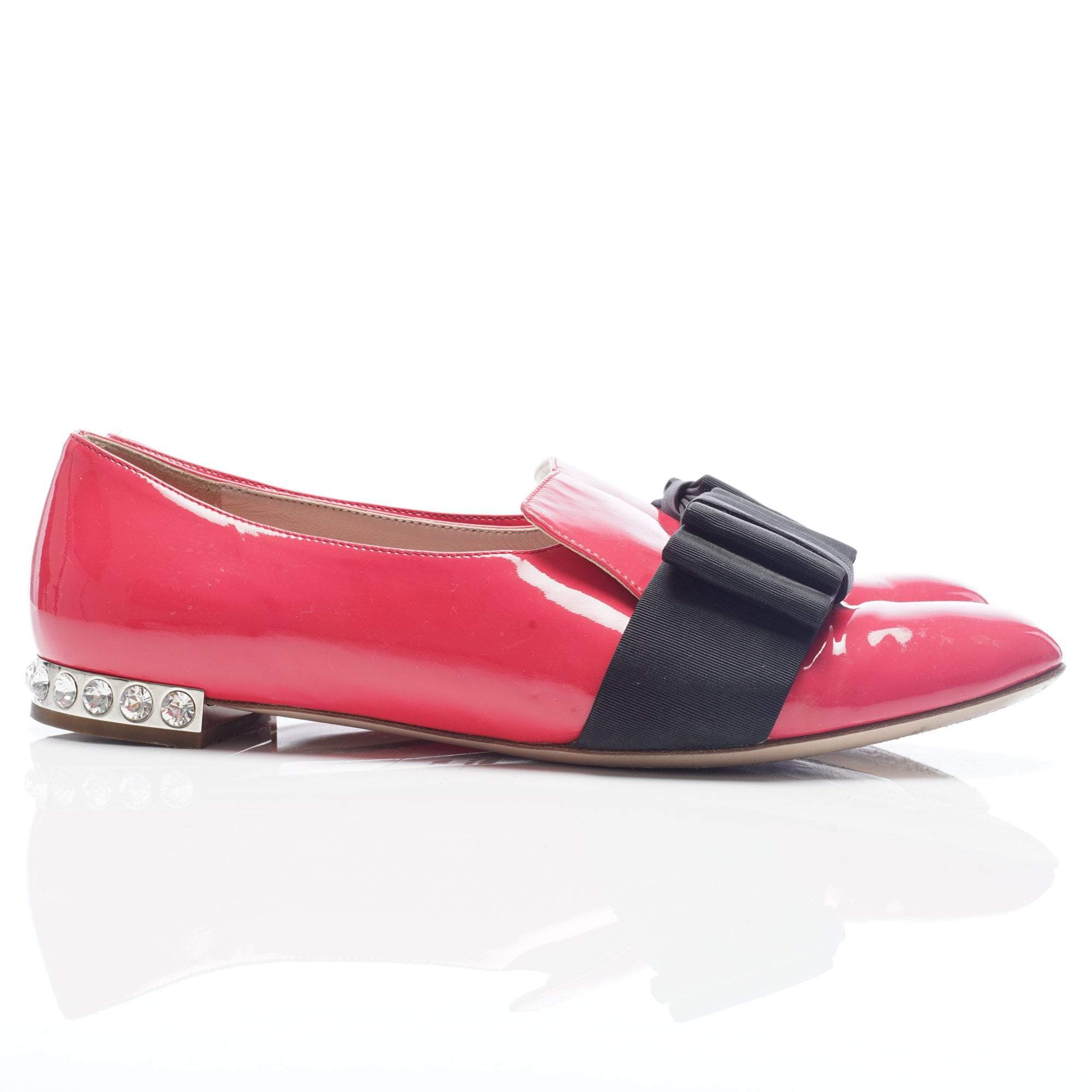 Miu Miu Pink Loafer With Ribbed Satin Bow