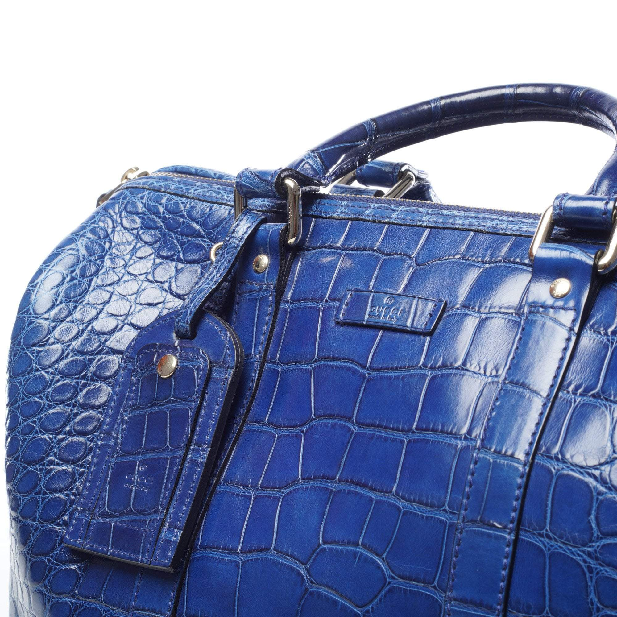 Gucci Navy Blue Alligator Boston Bag