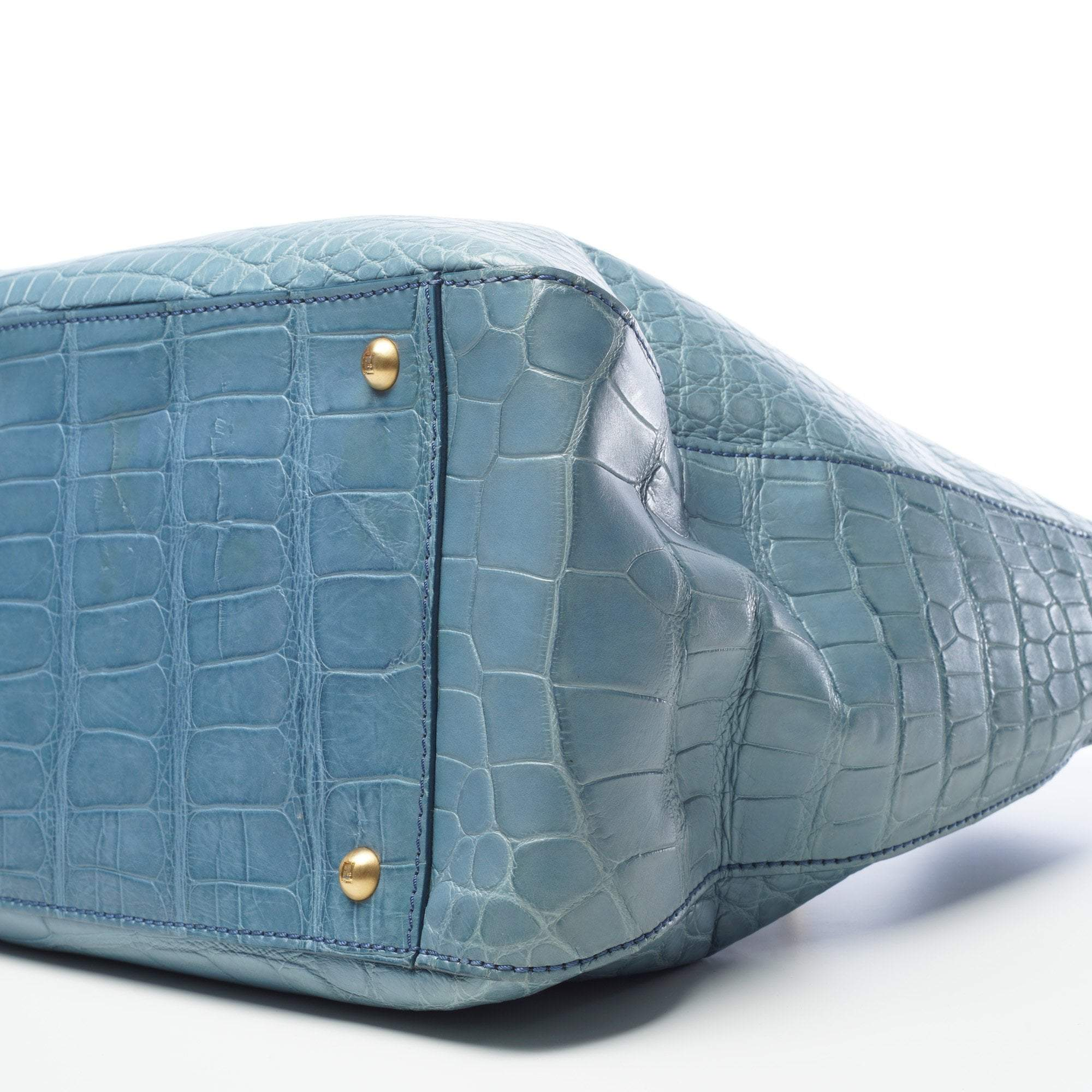 Fendi Crocodile Tote Blue Bag