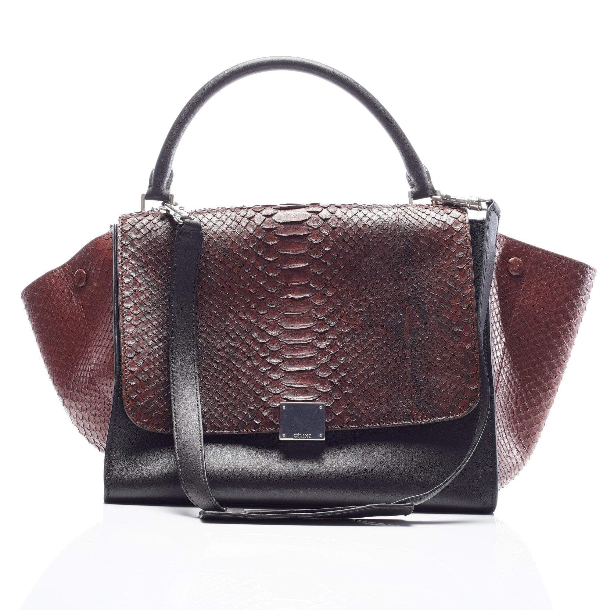 Celine Python And Leather Medium Trapeze Bag