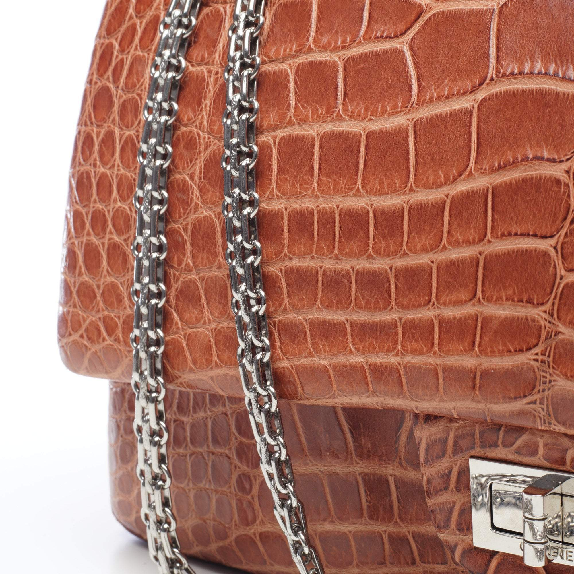 Chanel 2.55 Reissue 227 Brown Alligator Double Flap Bag