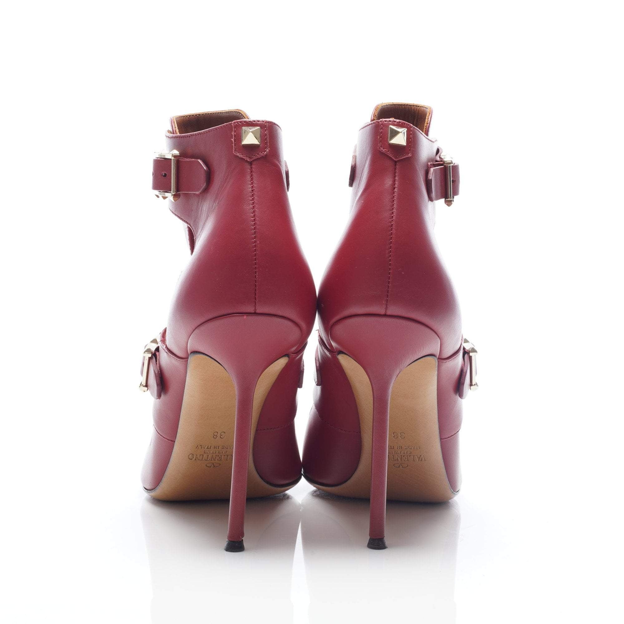 Valentino Red Leather Cut-Out Booties