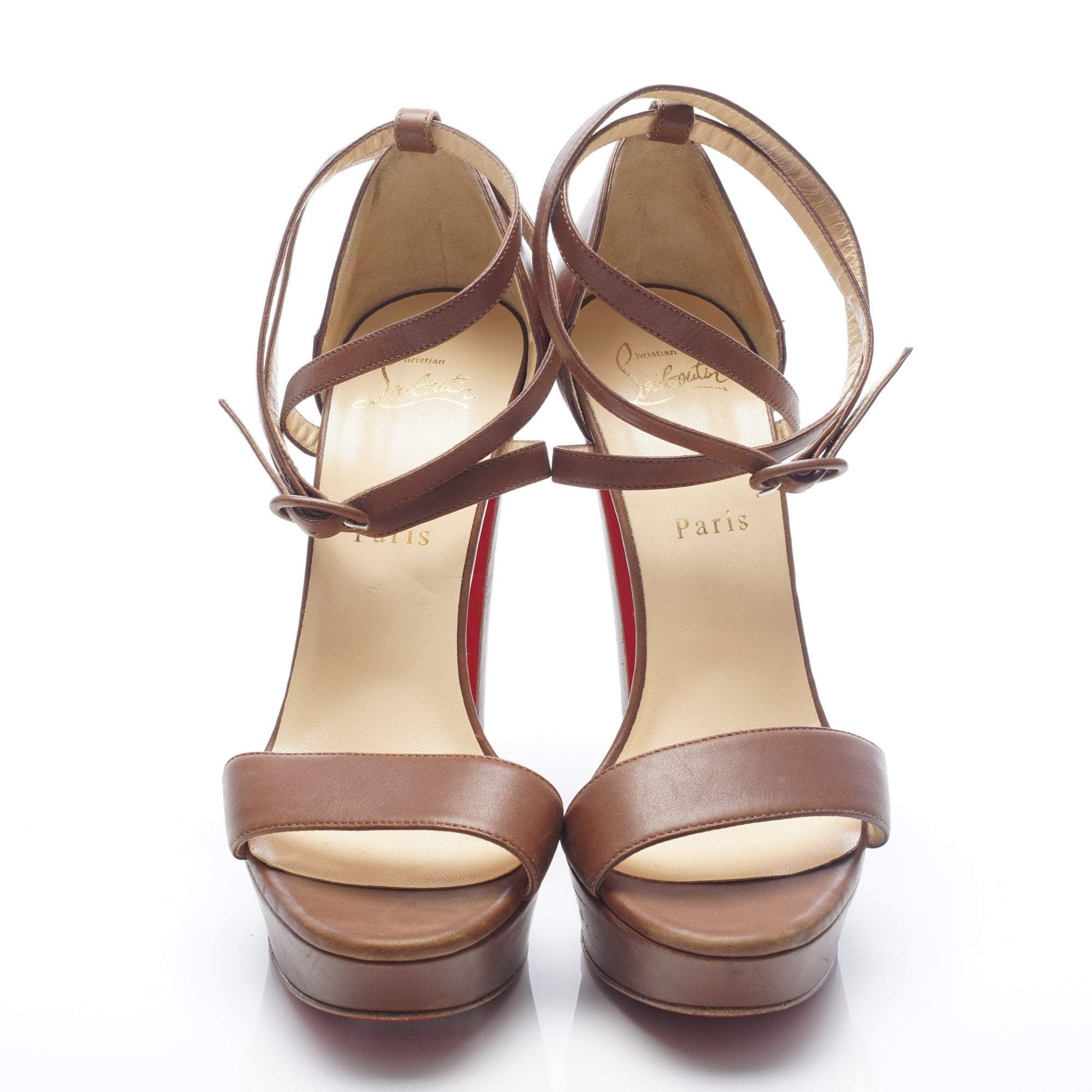 save off 00198 9ce6a Christian Louboutin Brown Sandal Double Wrap Ankle Strap ...