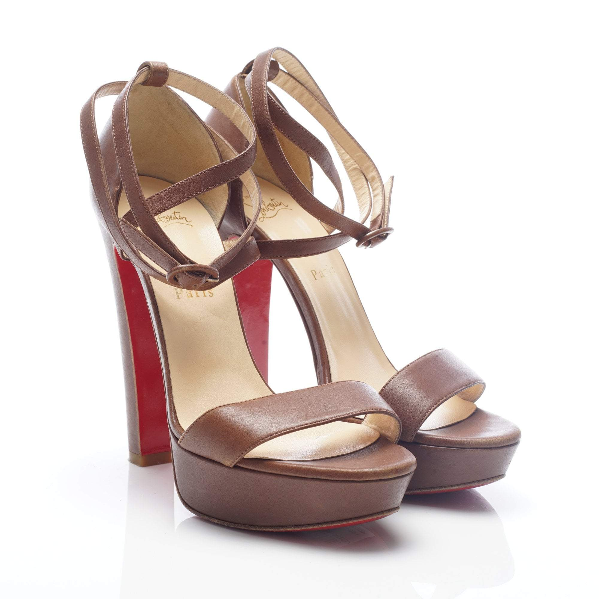 Christian Louboutin Brown Sandal Double Wrap Ankle Strap Heels