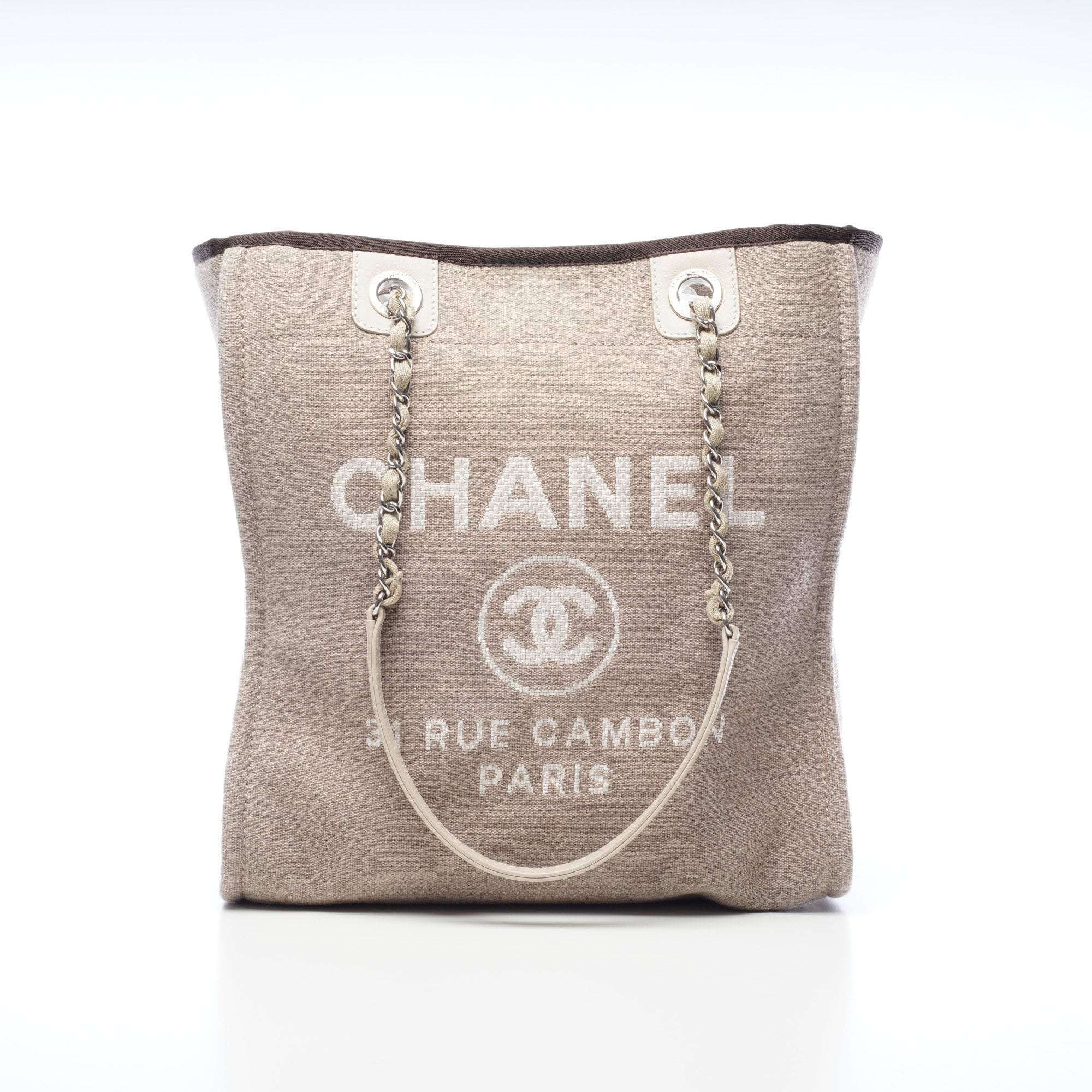 4ded6bfe5030 Chanel Khaki Medium Deauville Canvas Tote – Garderobe
