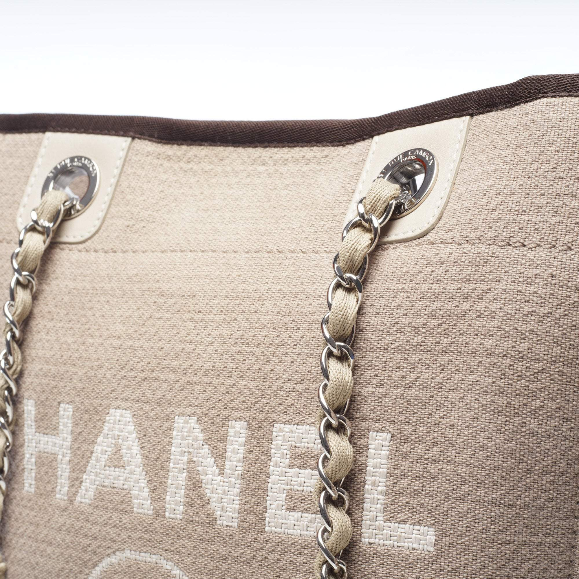 Chanel Khaki Medium Deauville Canvas Tote