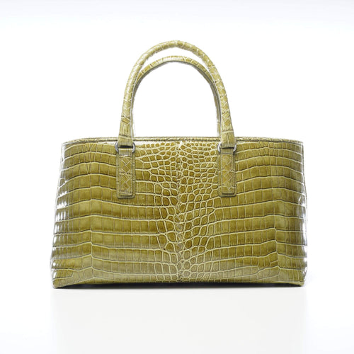 Bottega Veneta Crocodile Fumé Fenice Tote Green Bag