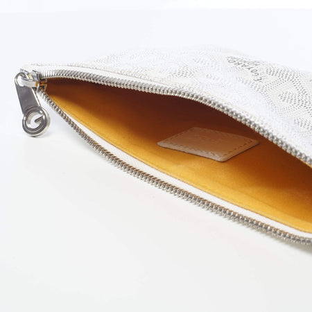 Goyard White Senat PM Zippered Pouch