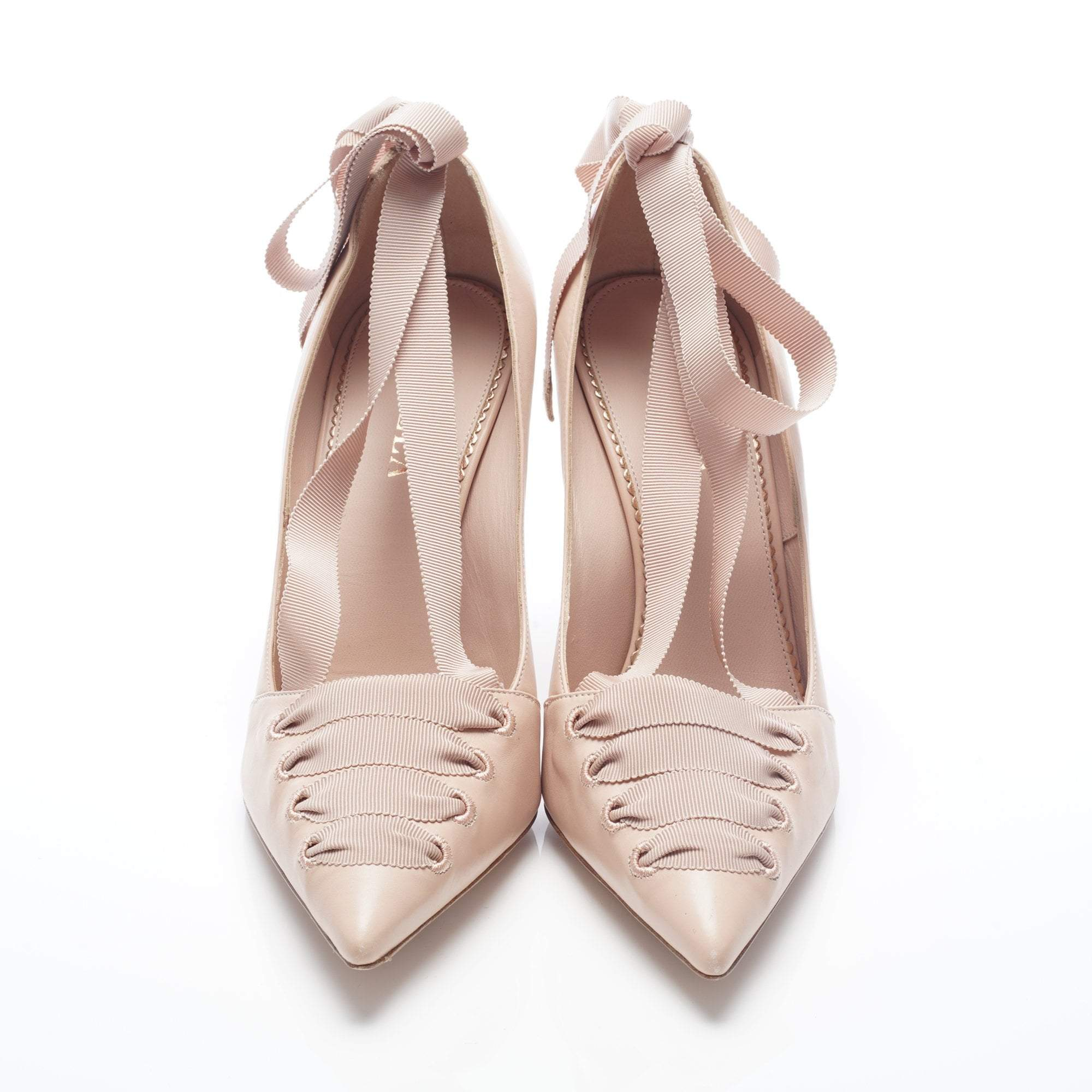 Le Silla Beige Lace Up Pointed Toe Pumps