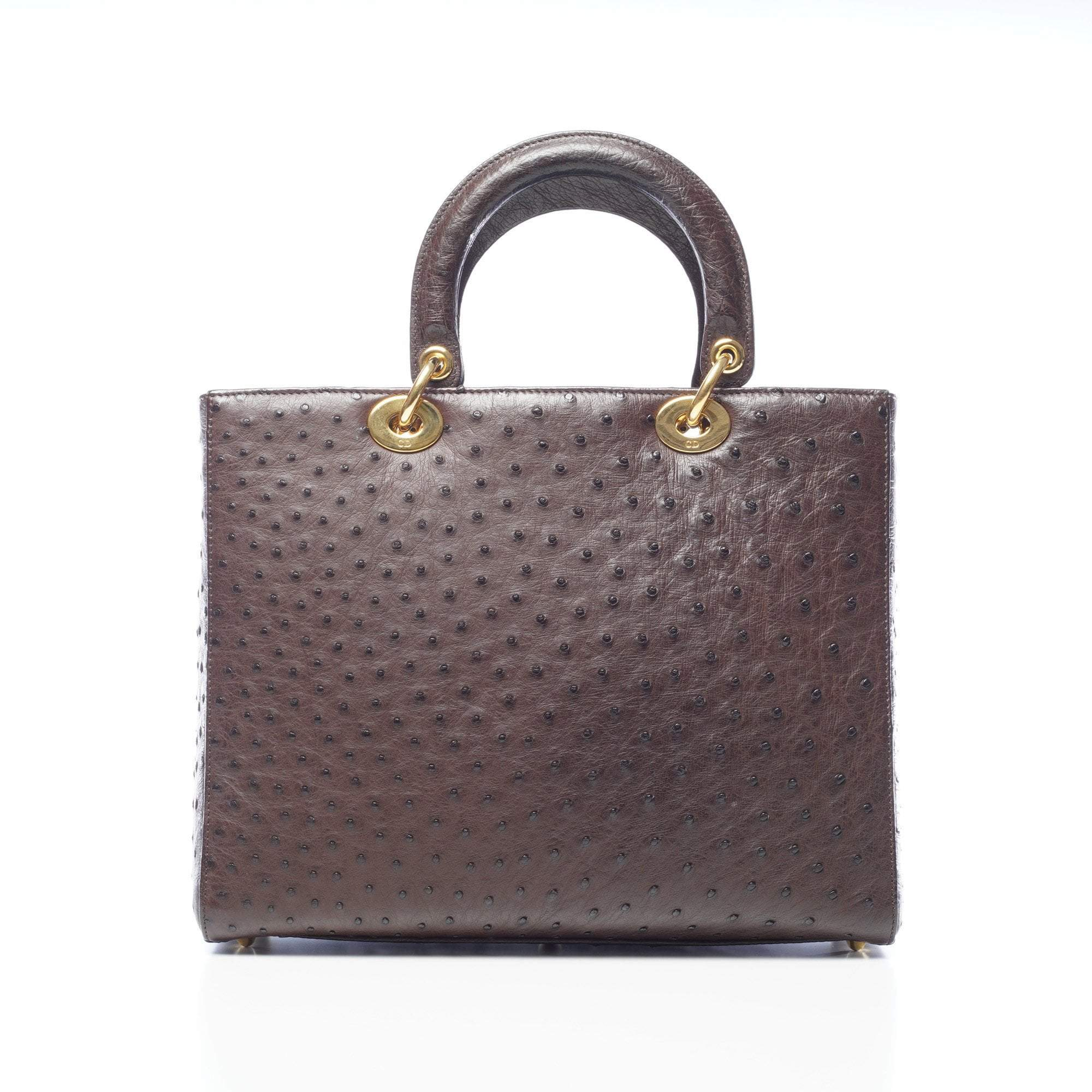 Dior Brown Ostrich Skin Large Lady Dior Tote